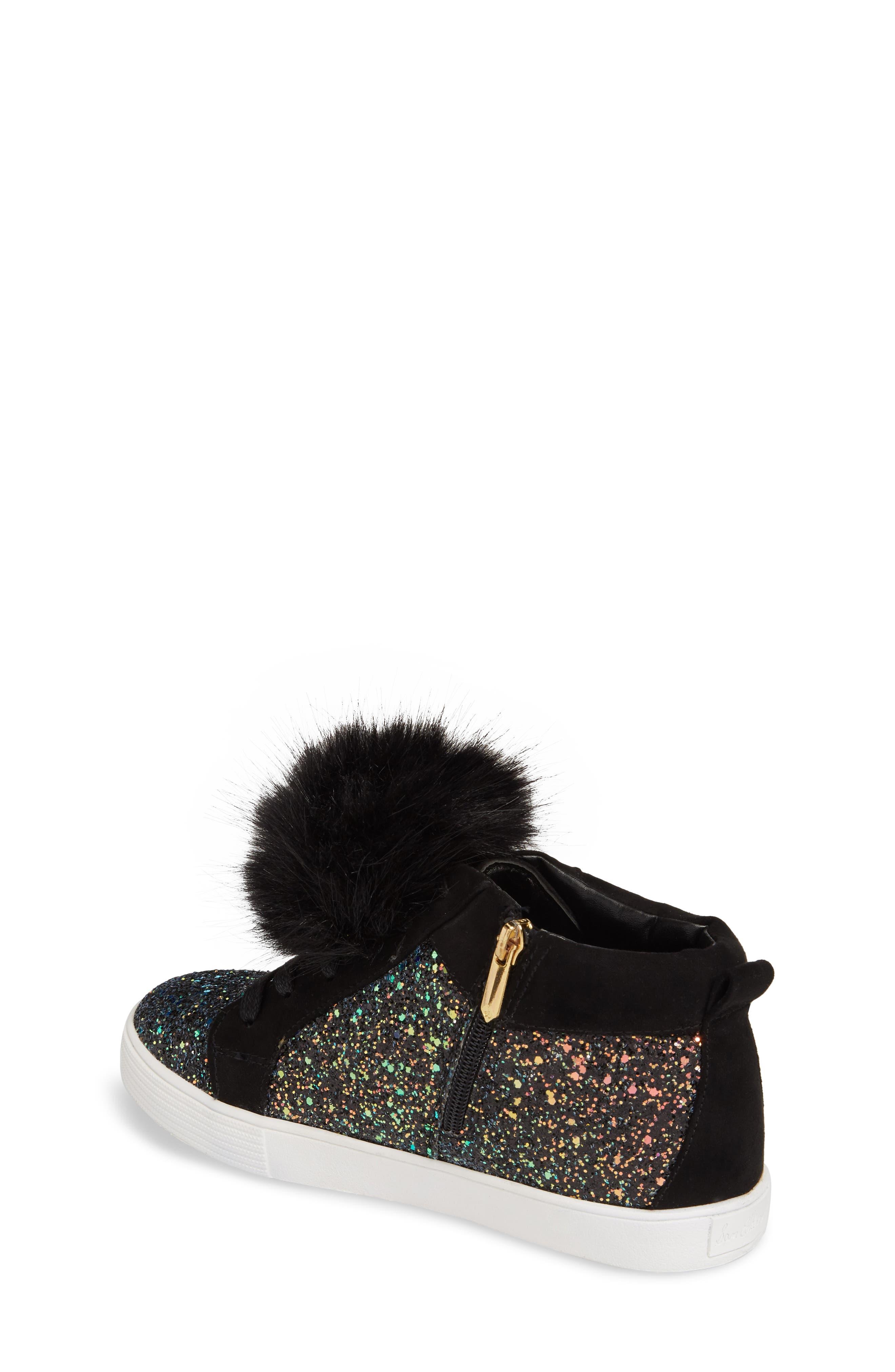 Bella Hira Faux Fur Glitter Pom Sneaker,                             Alternate thumbnail 2, color,                             Black Multi Chunky Glitter