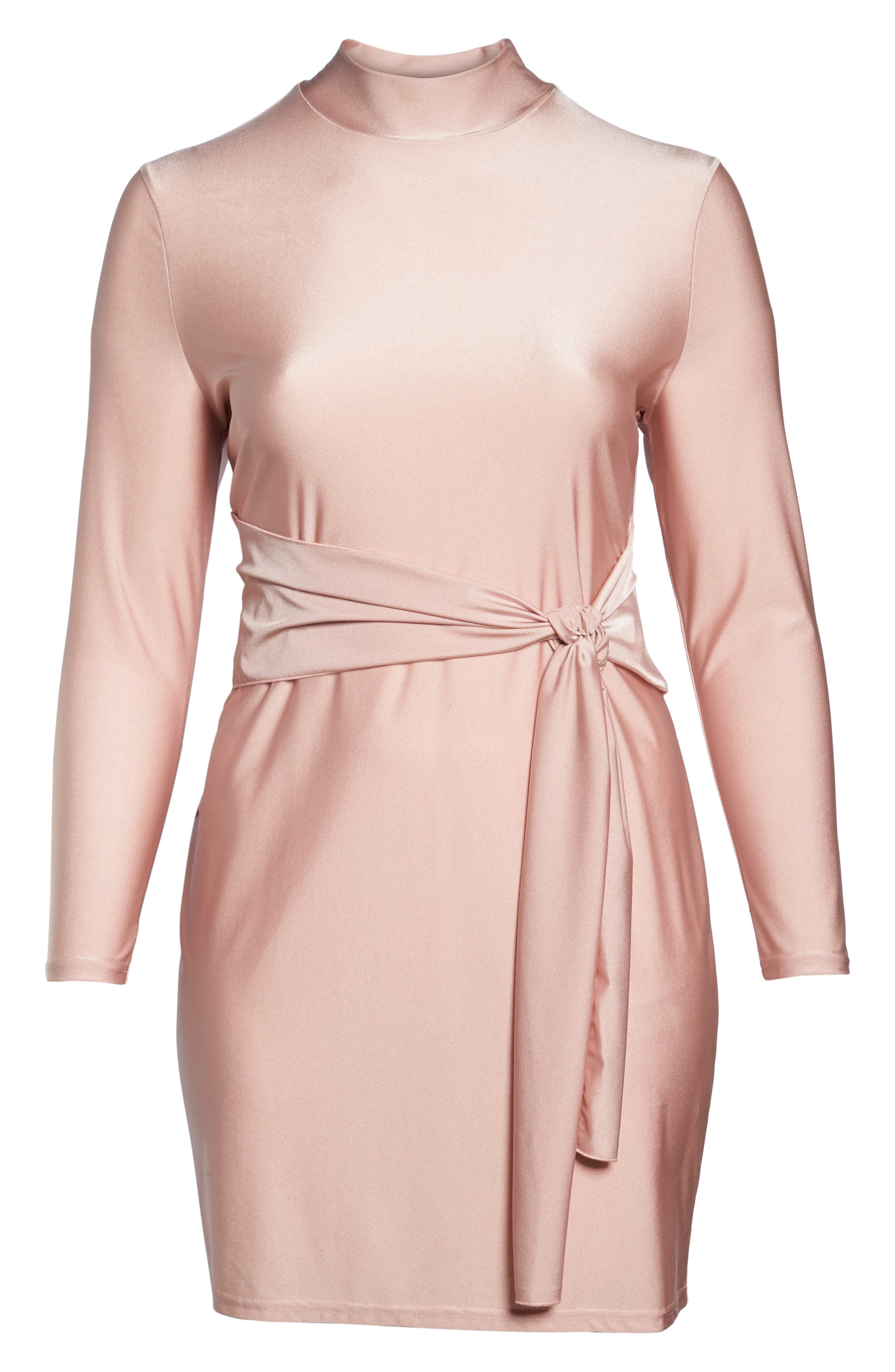 Shimmer Tie-Front Dress,                             Alternate thumbnail 6, color,                             Pink