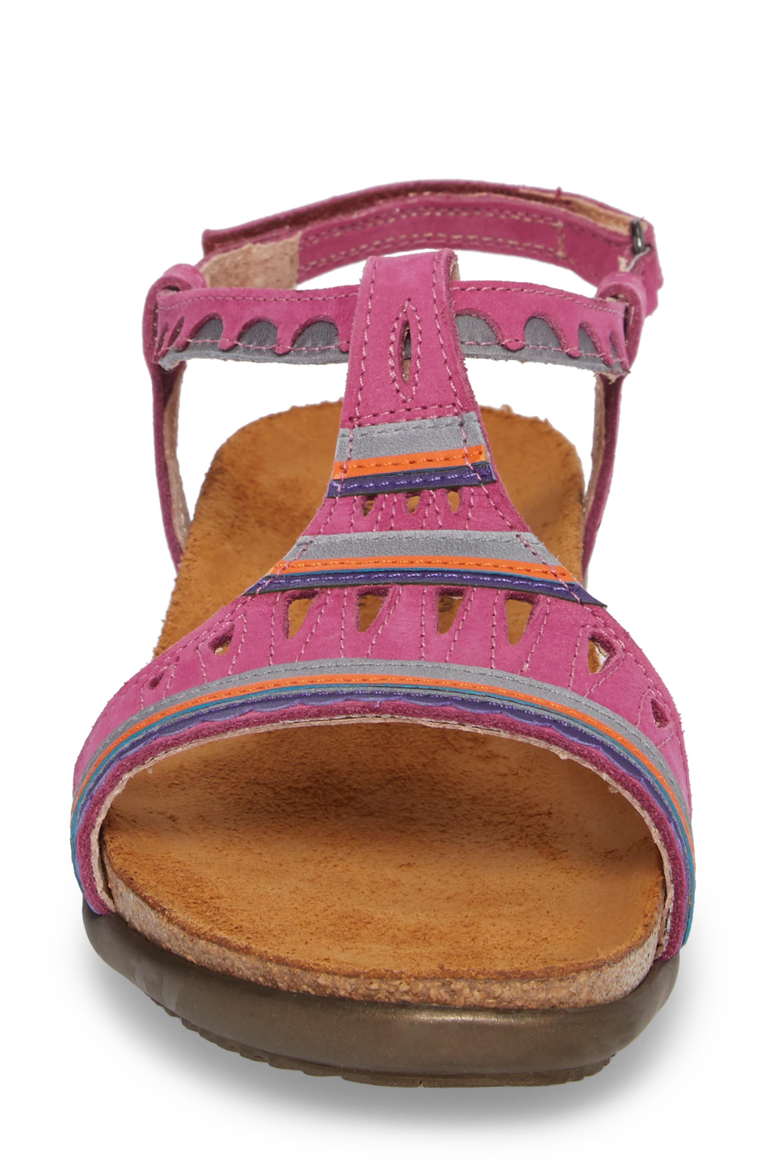Odelia Perforated T-Strap Sandal,                             Alternate thumbnail 4, color,                             Pink Plum Nubuck