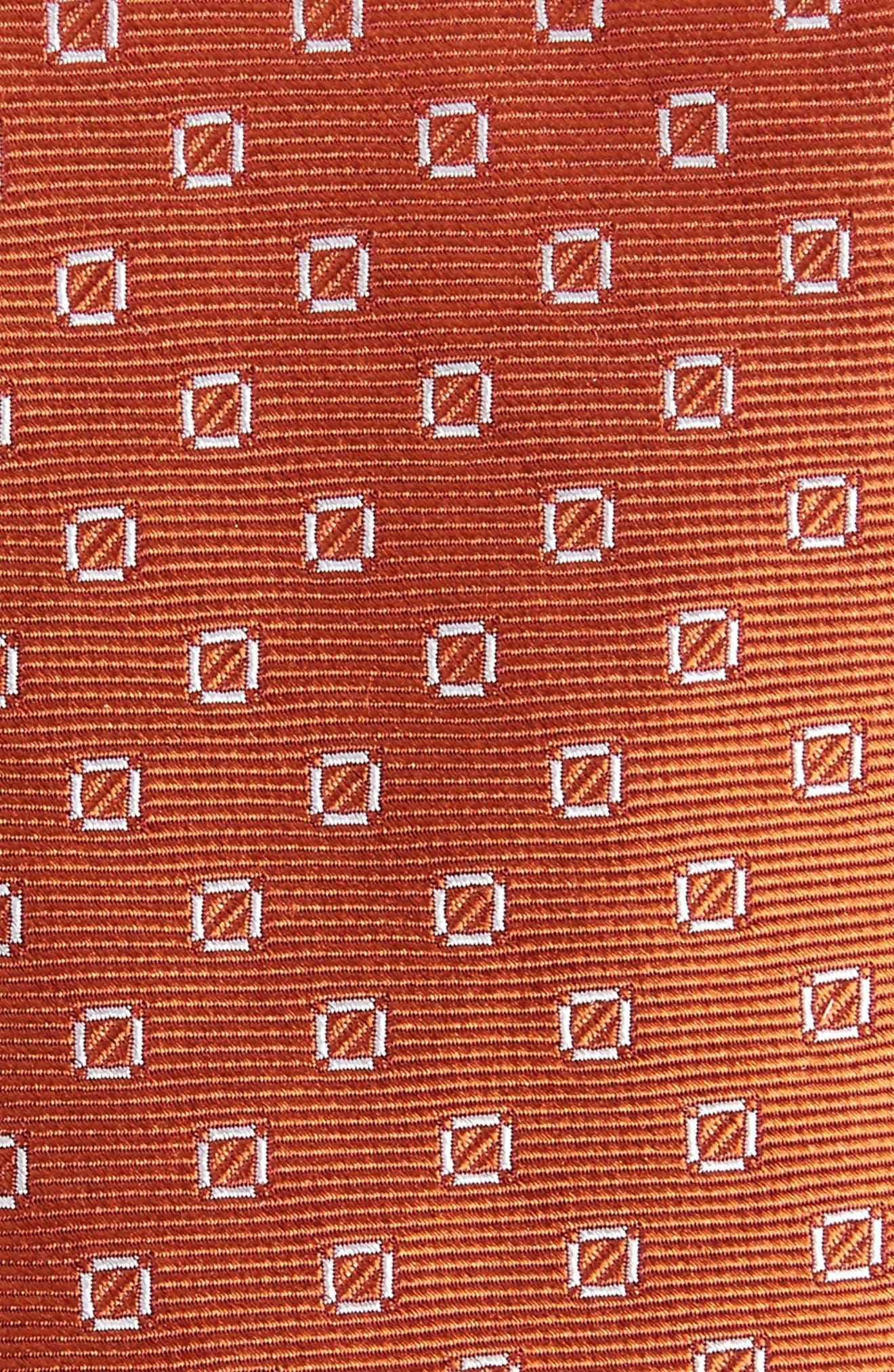 Junction Geo Silk Skinny Tie,                             Alternate thumbnail 2, color,                             Burnt Orange