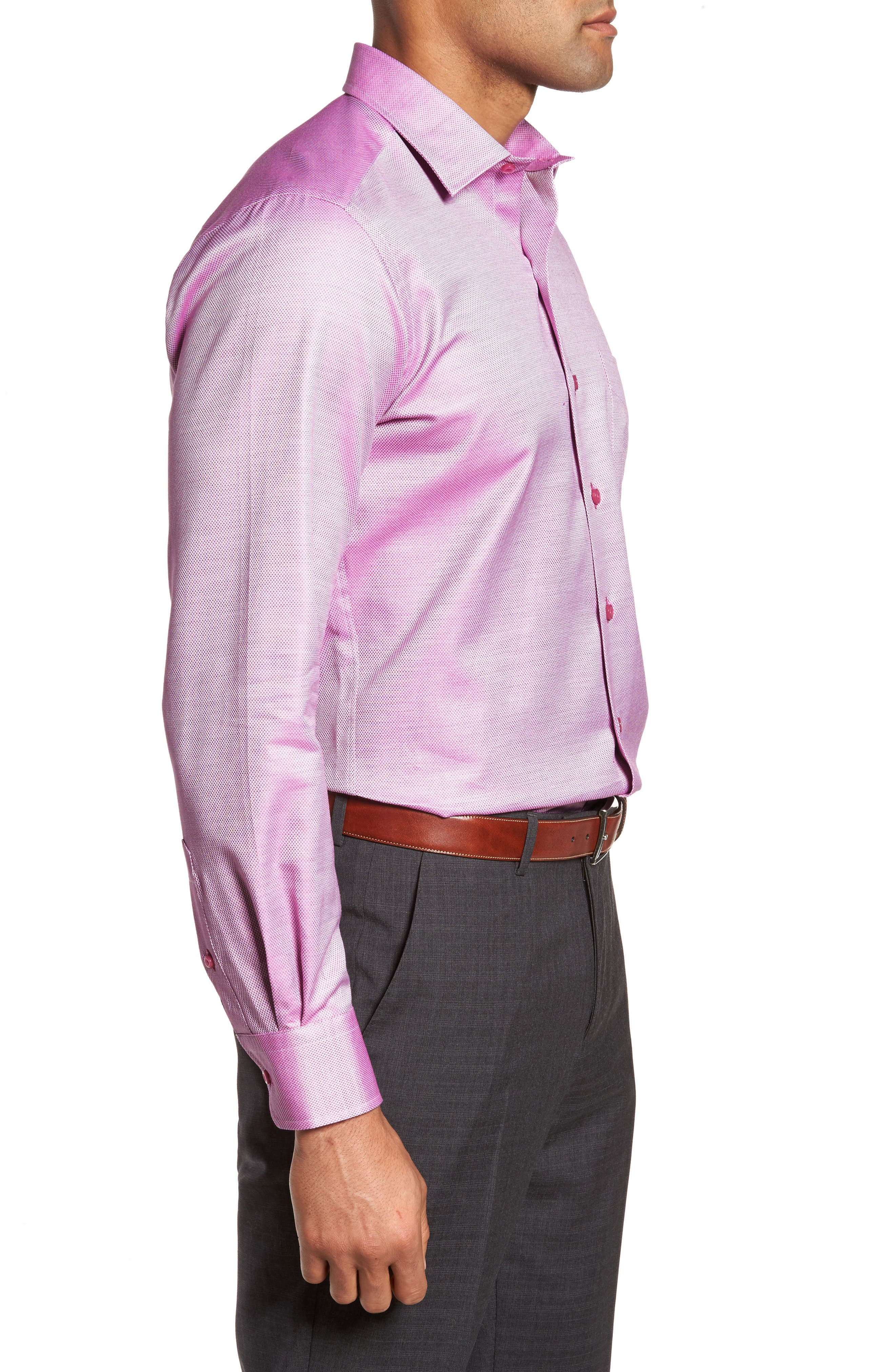 Solid Sport Shirt,                             Alternate thumbnail 3, color,                             Berry