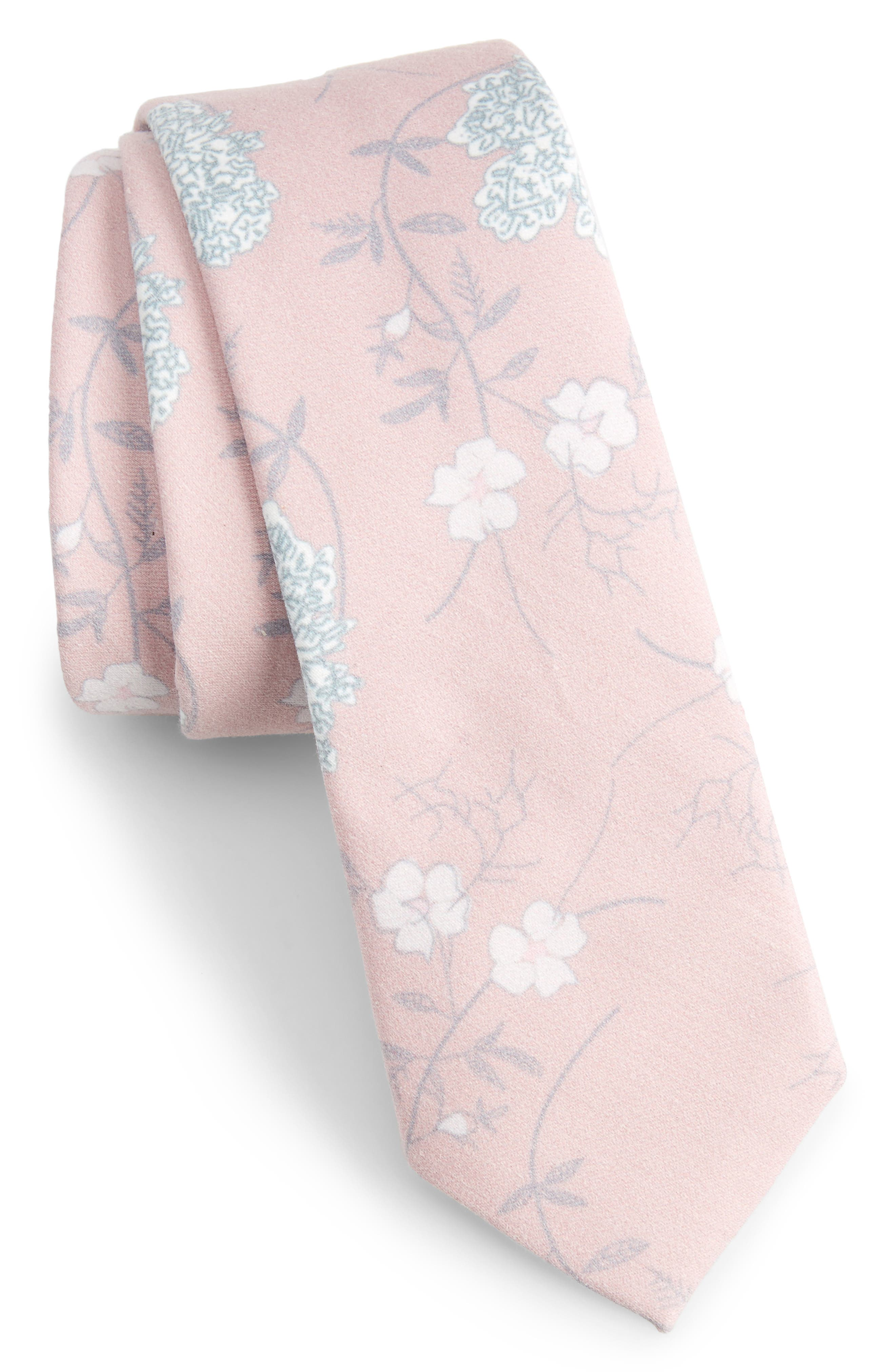 Huntwick Floral Cotton Skinny Tie,                             Main thumbnail 1, color,                             Pink