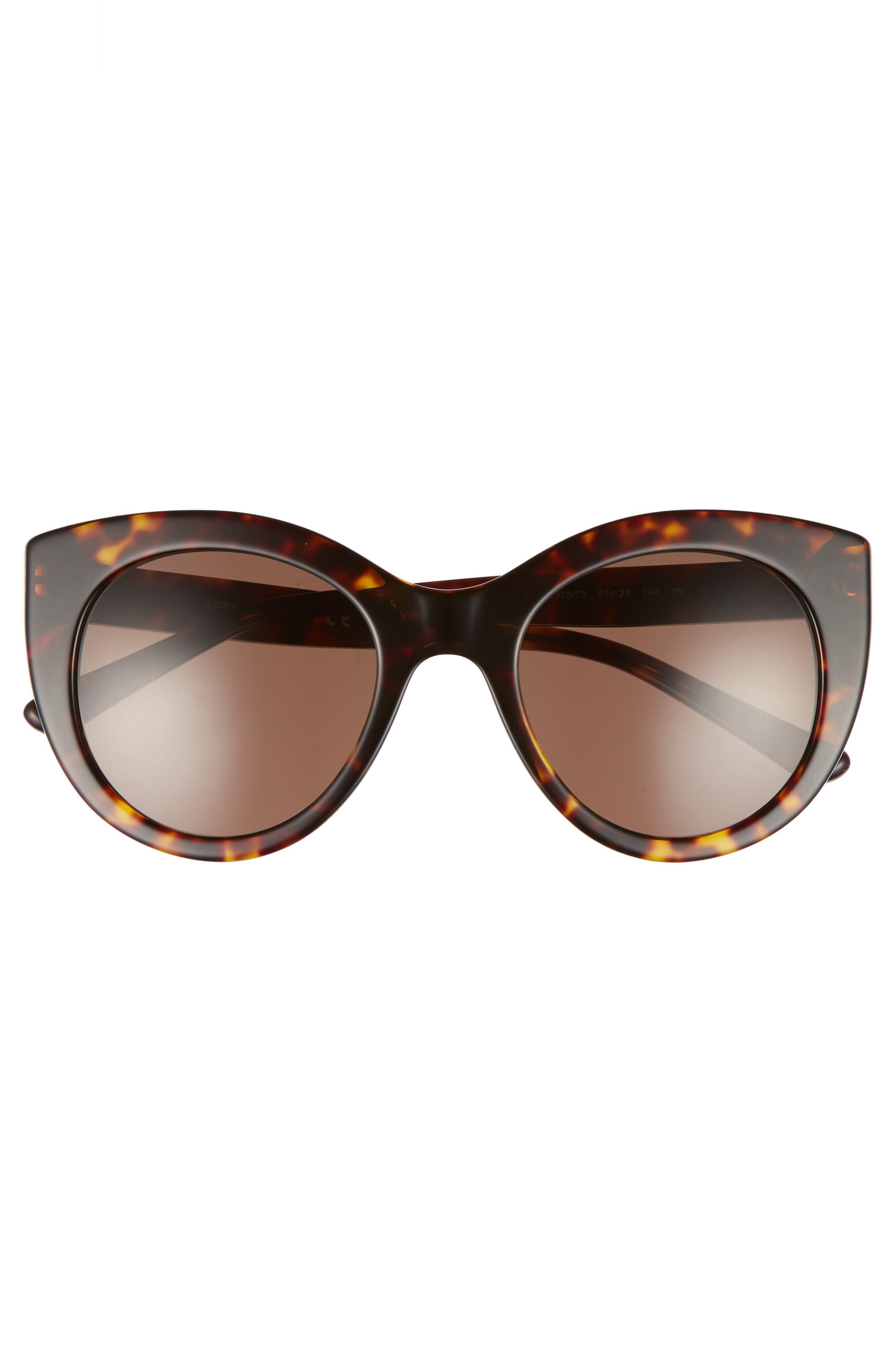 51mm Cat Eye Sunglasses,                             Alternate thumbnail 3, color,                             Tortoise/ Gold