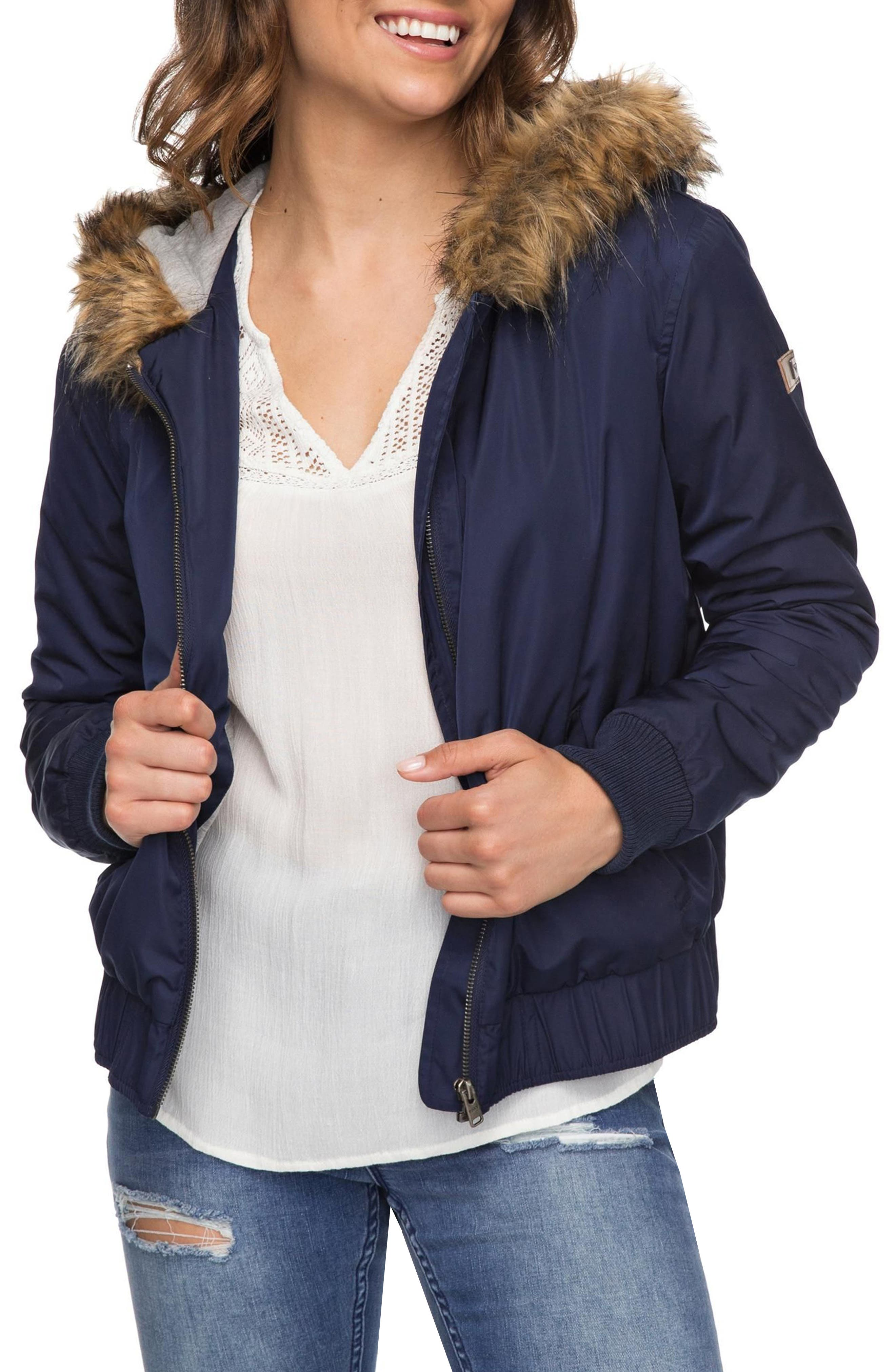 Oh Reely Faux Fur Bomber Jacket,                         Main,                         color, Dress Blues