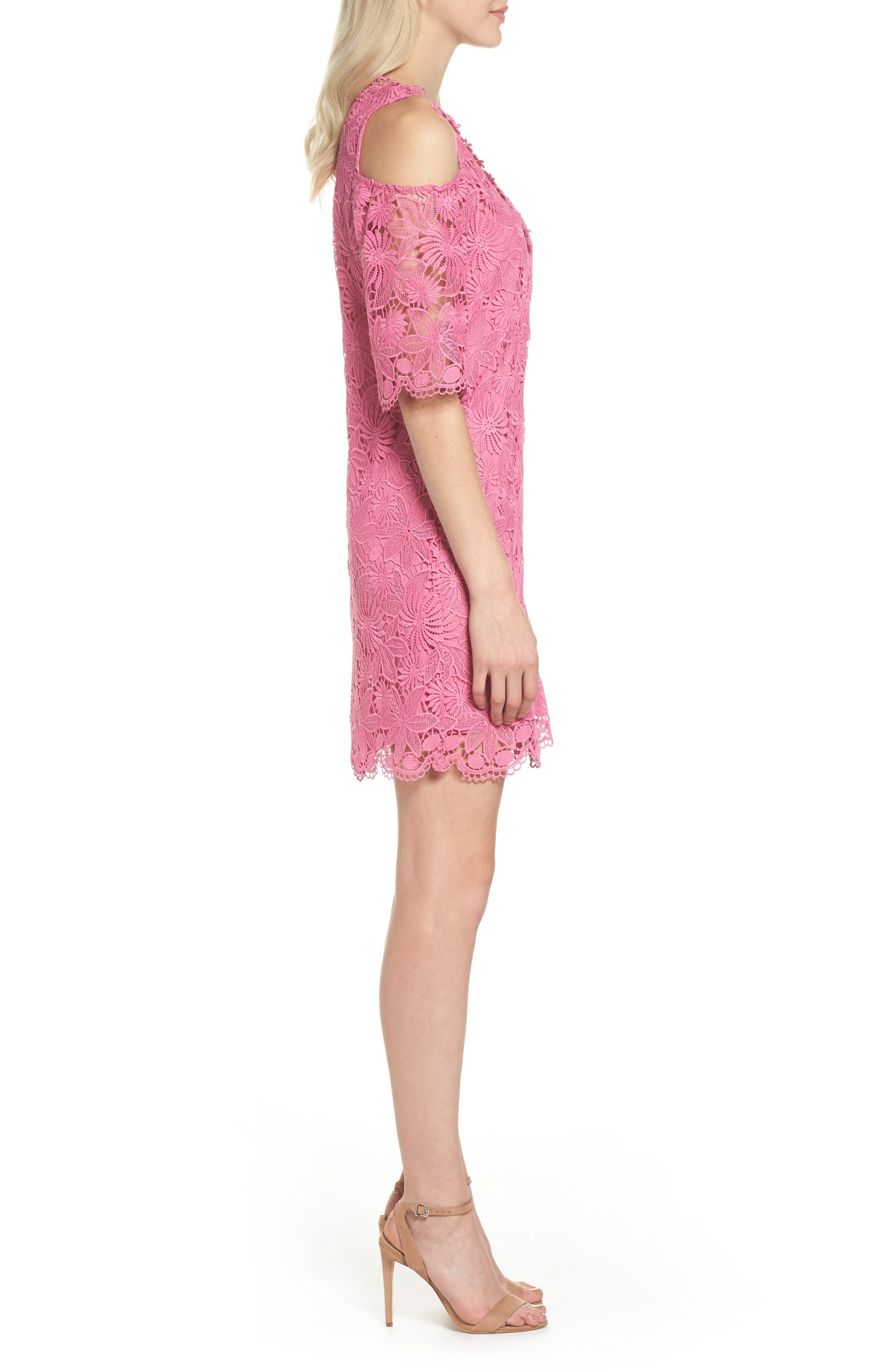 Edna Cold Shoulder Lace Dress,                             Alternate thumbnail 3, color,                             Tulip
