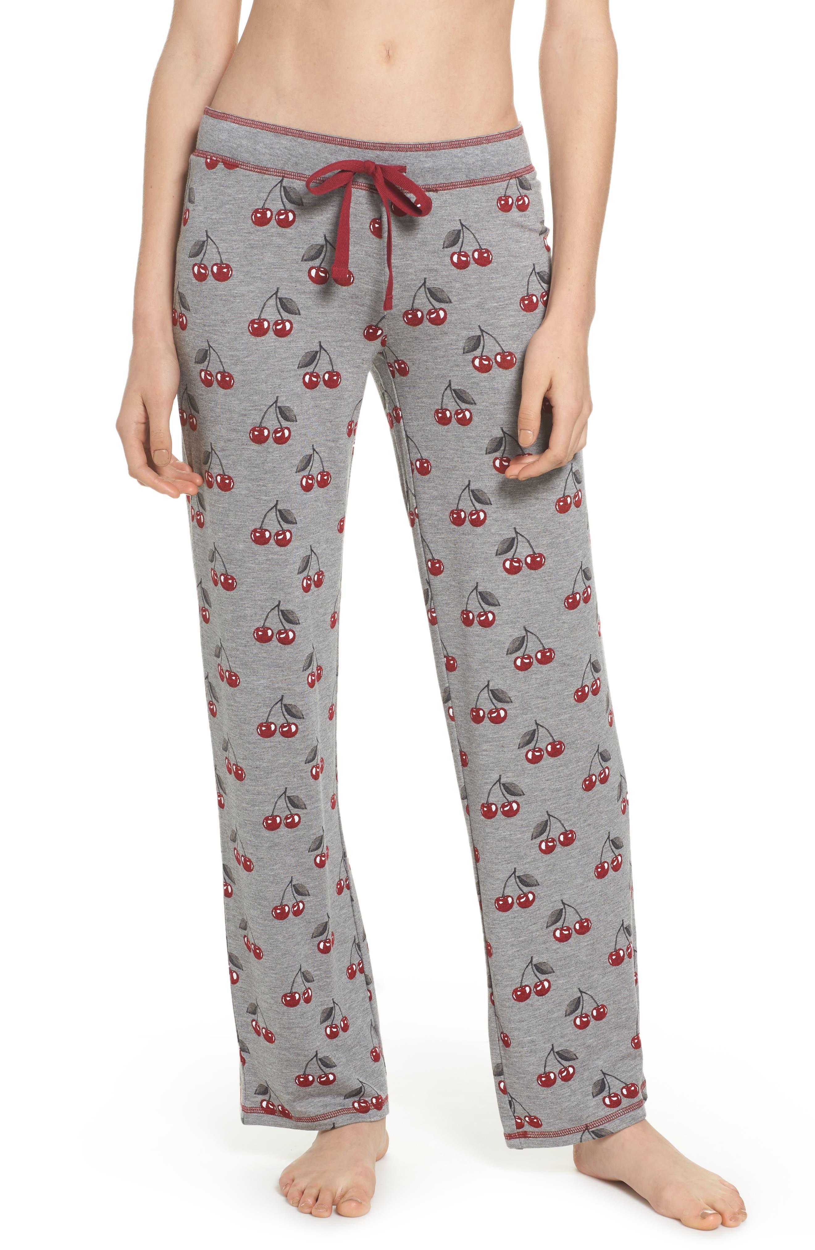 Print Pajama Pants,                         Main,                         color, Heather Grey