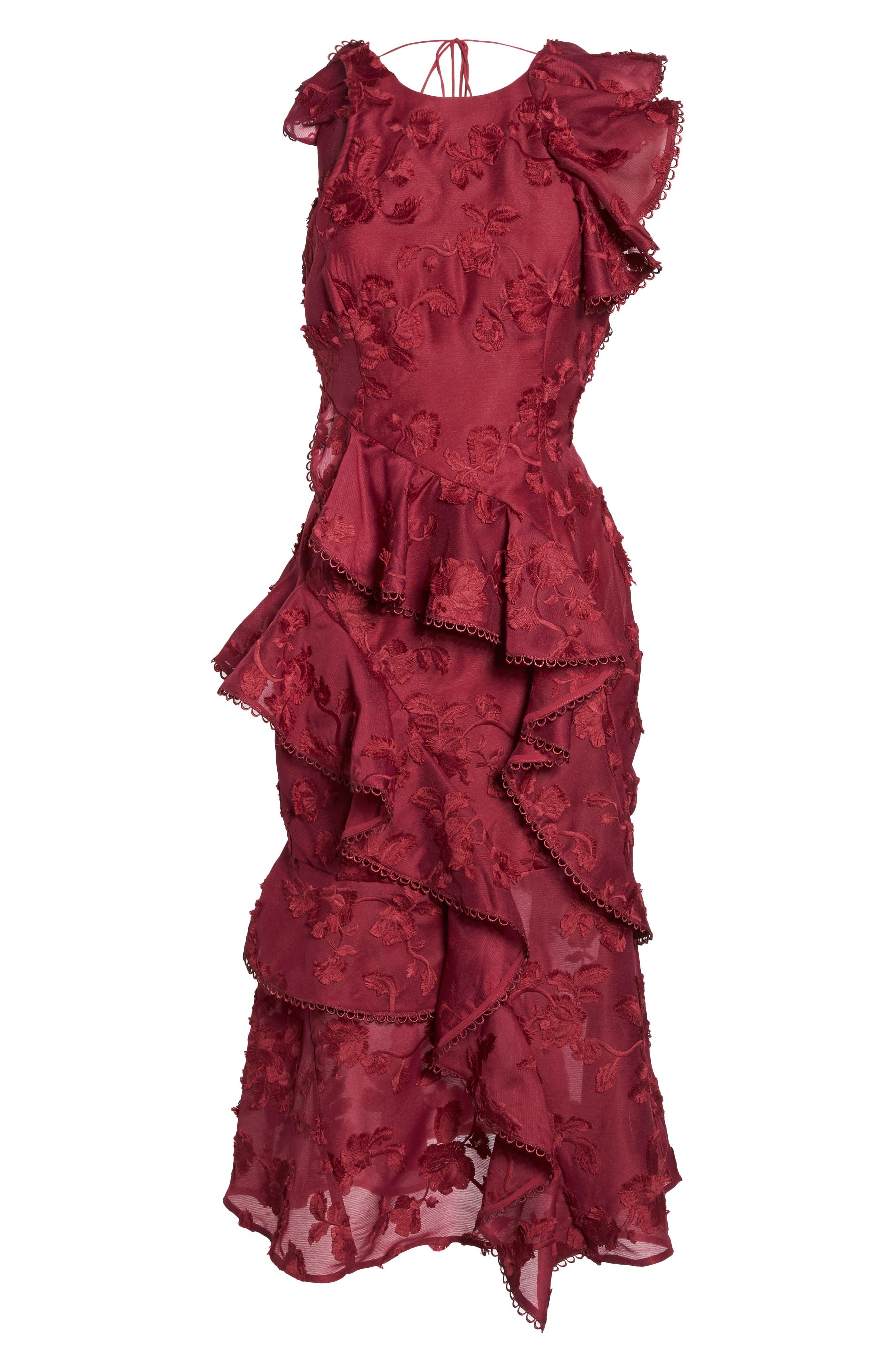 Shine Ruffle Lace Tea Length Dress,                             Alternate thumbnail 6, color,                             Raspberry