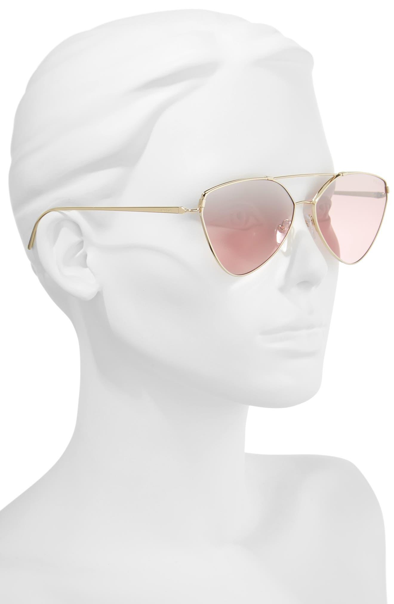 62mm Gradient Aviator Sunglasses,                             Alternate thumbnail 2, color,                             Pale Gold