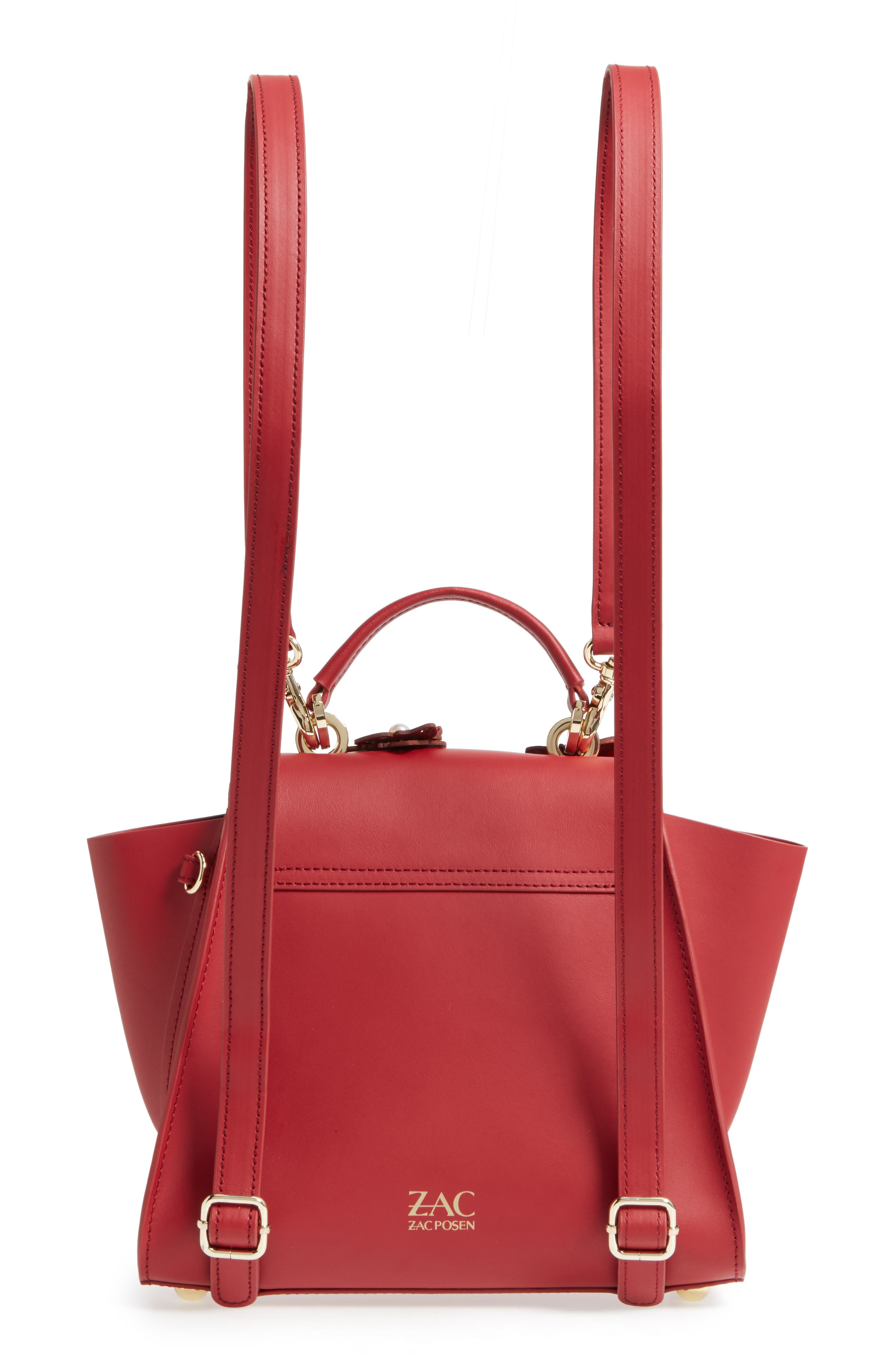 Eartha Iconic Convertible Leather Backpack,                             Alternate thumbnail 3, color,                             Red