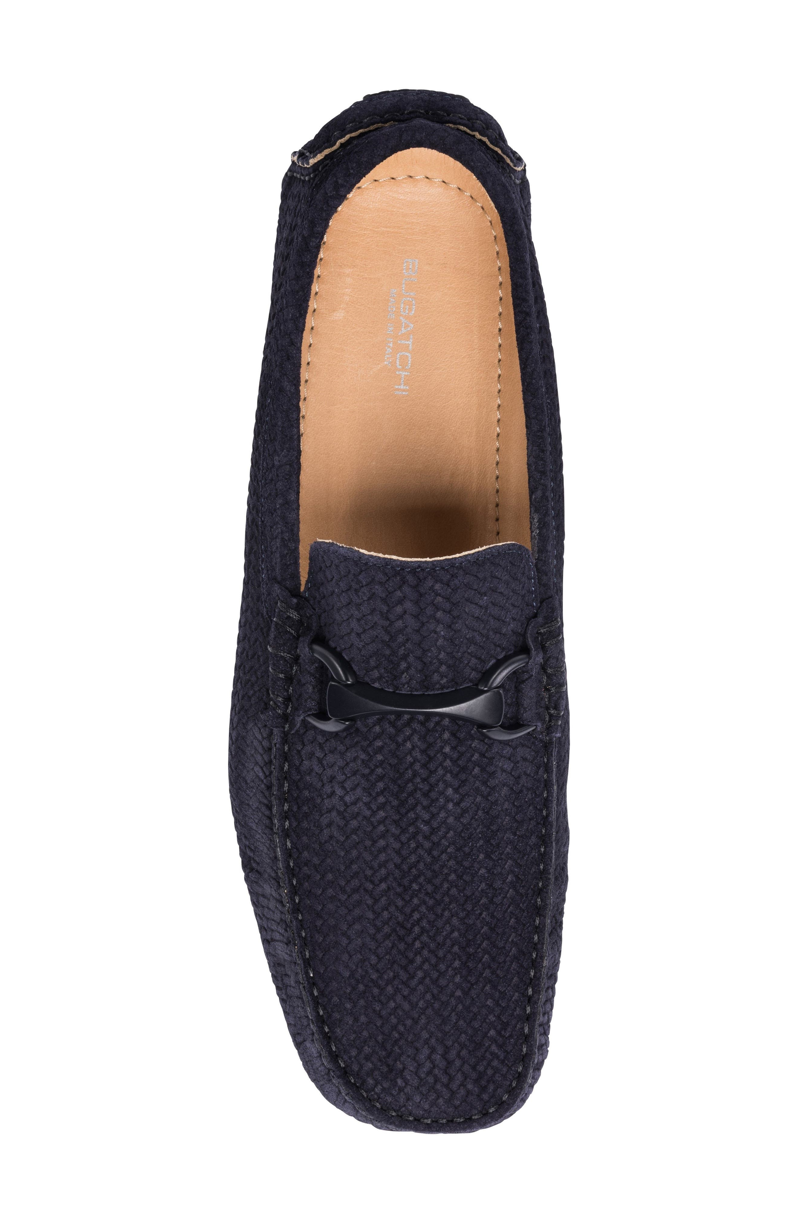 Amalfi Woven Bit Driving Loafer,                             Alternate thumbnail 4, color,                             Blue Suede