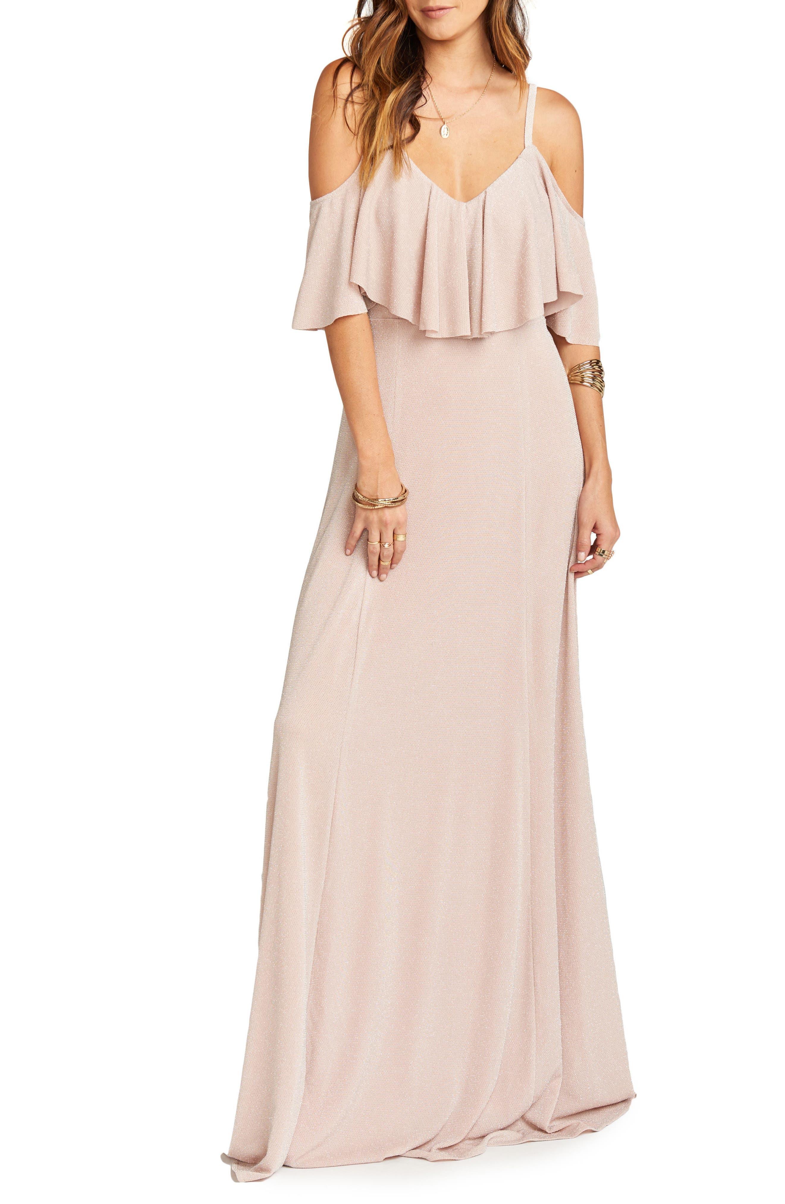 Renee Ruffle Gown,                         Main,                         color, Dancing Queen Shine Blush