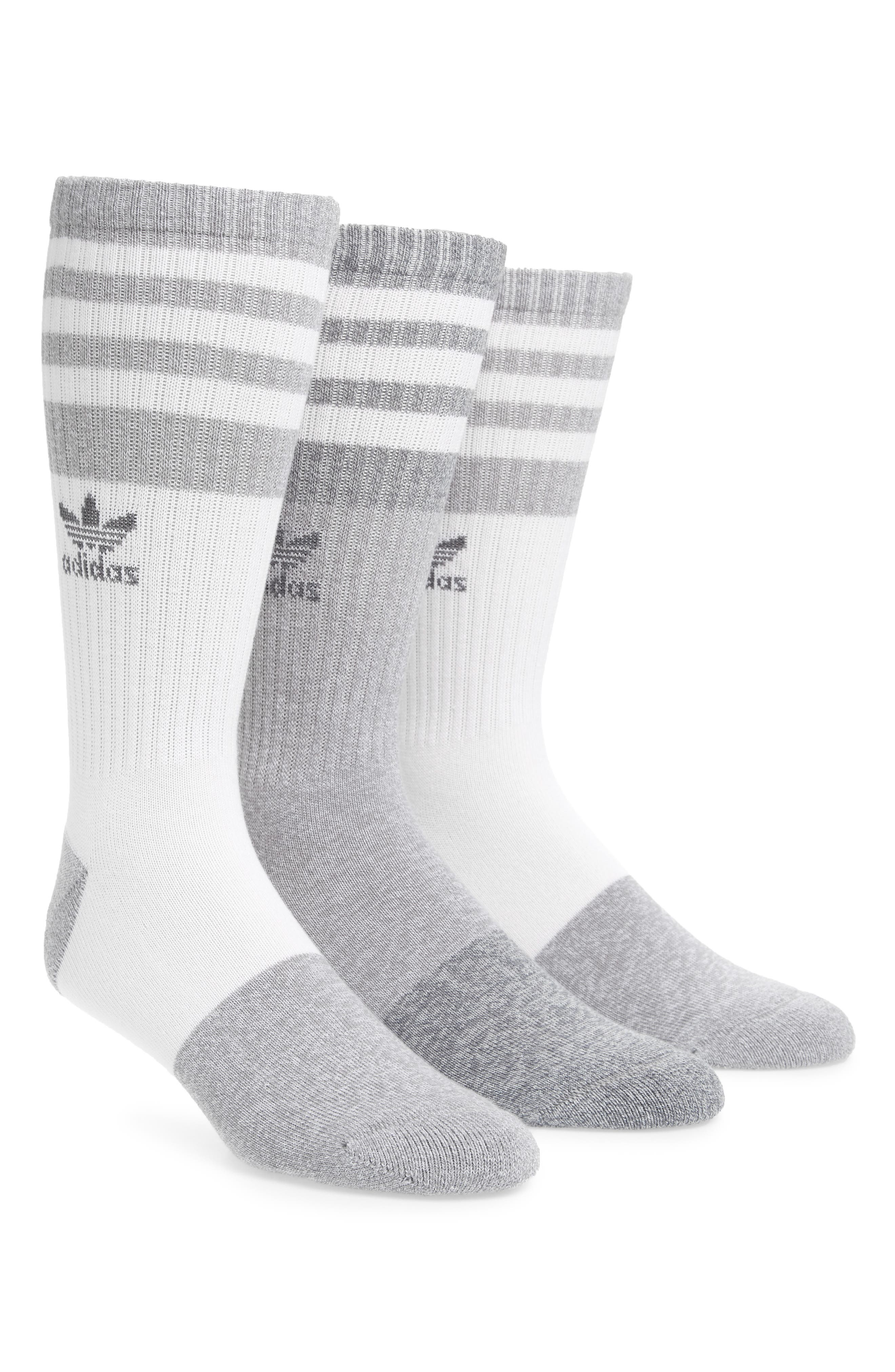 3-Pack Stripe Crew Socks,                         Main,                         color, White/ Clear Grey/ Onyx