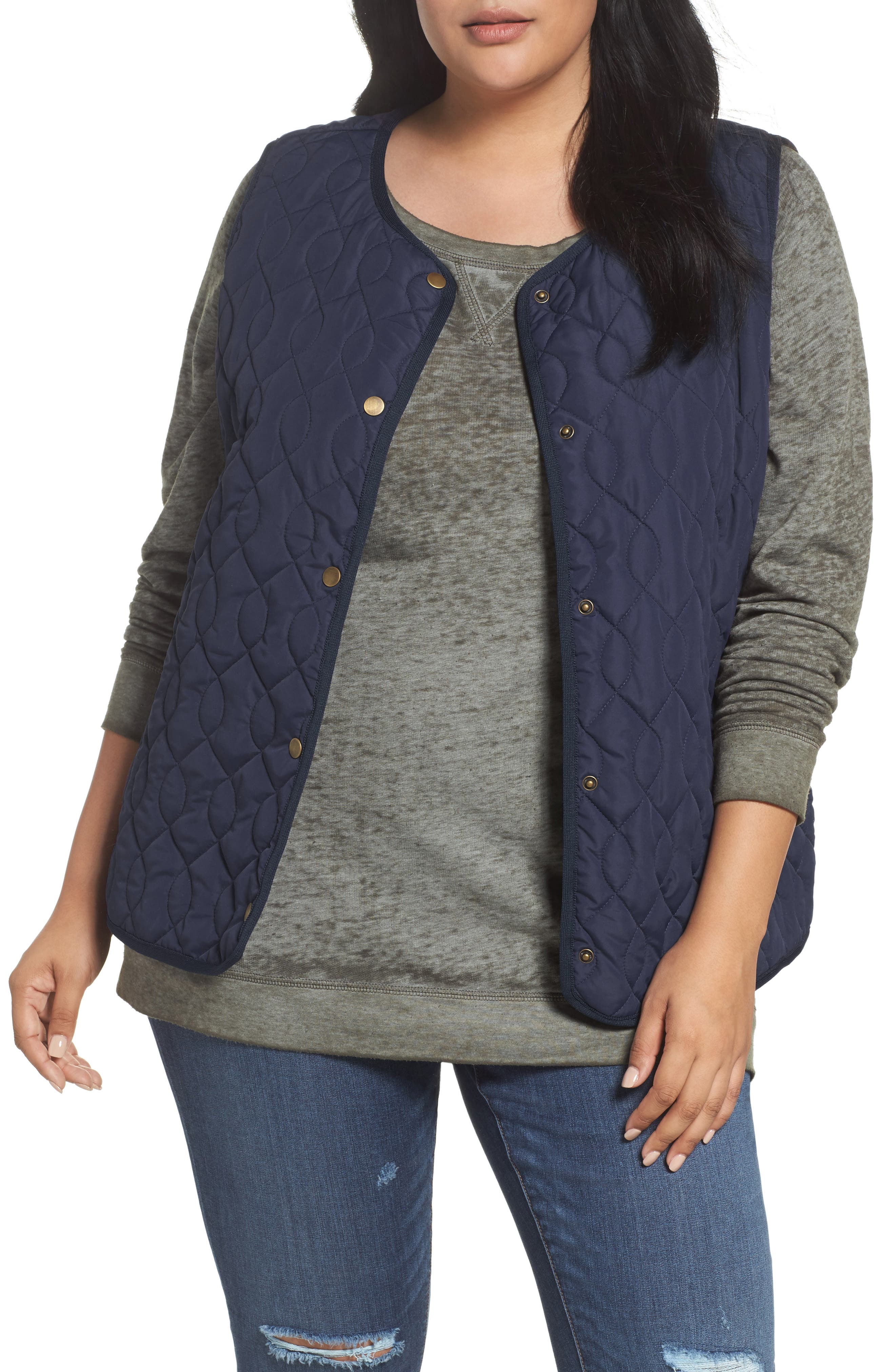 Caslon® Collarless Quilted Vest (Plus Size)