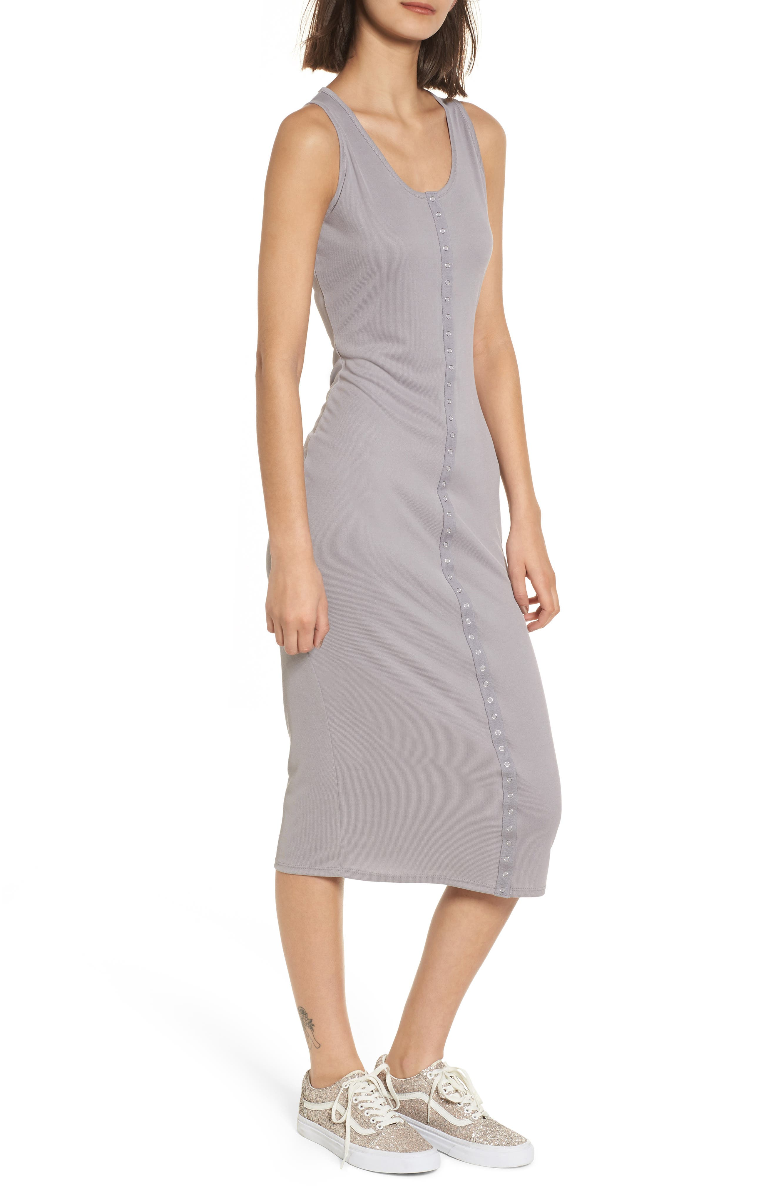 Snap Front Midi Dress,                             Main thumbnail 1, color,                             Grey Cloudburst
