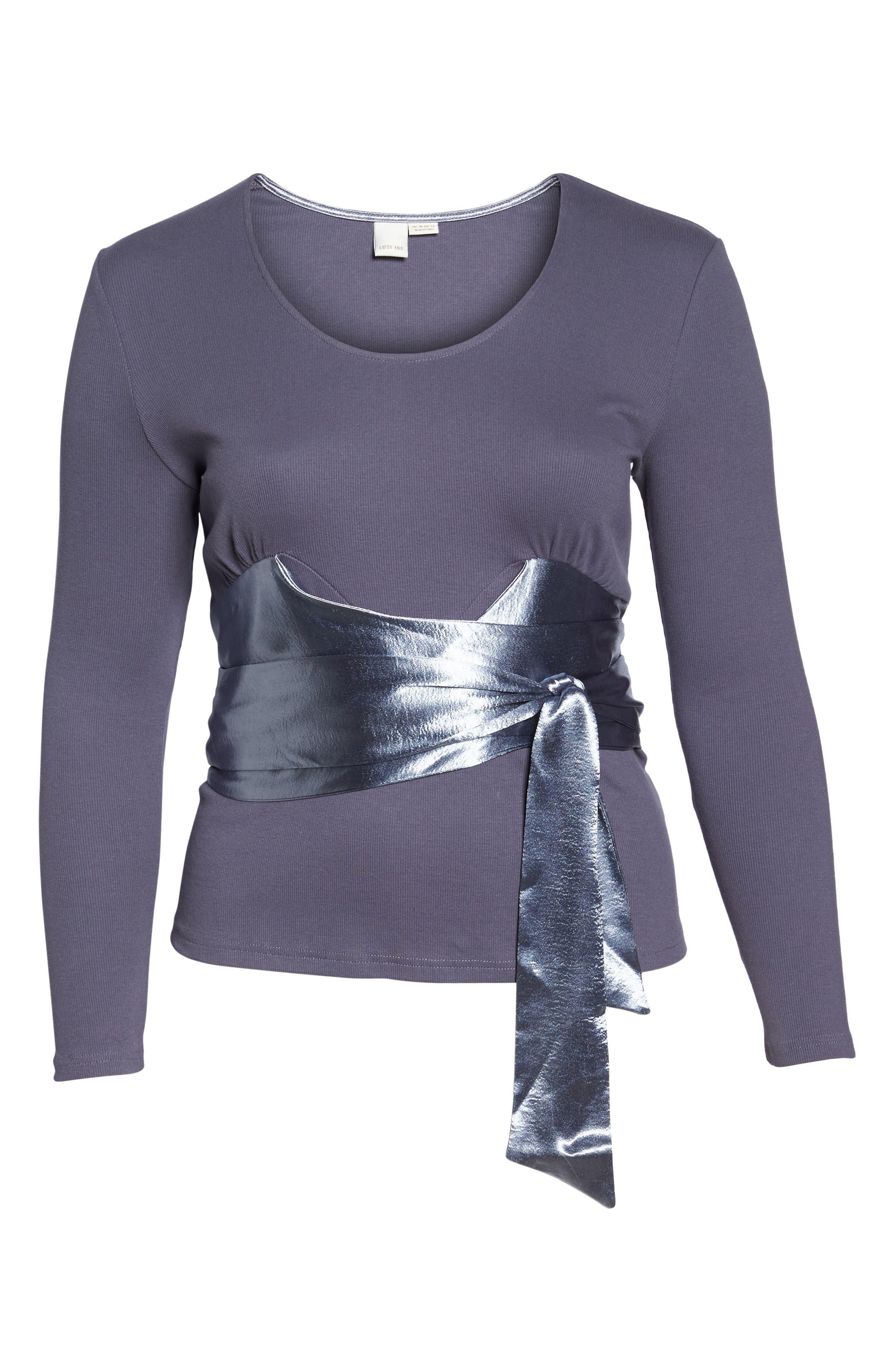 Satin Sash Knit Top,                             Alternate thumbnail 6, color,                             Grey