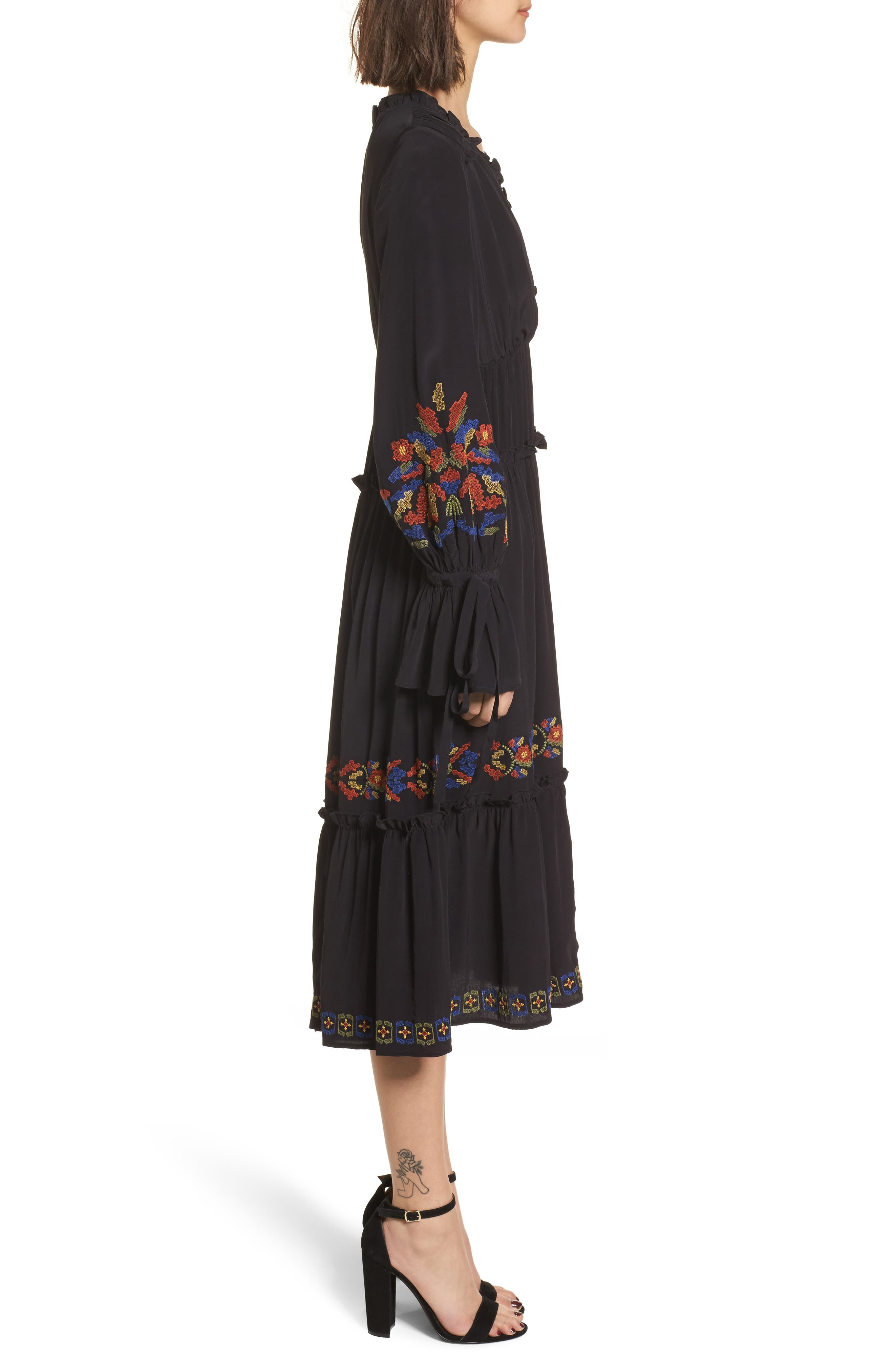 Embroidered Midi Dress,                             Alternate thumbnail 3, color,                             Black Combo