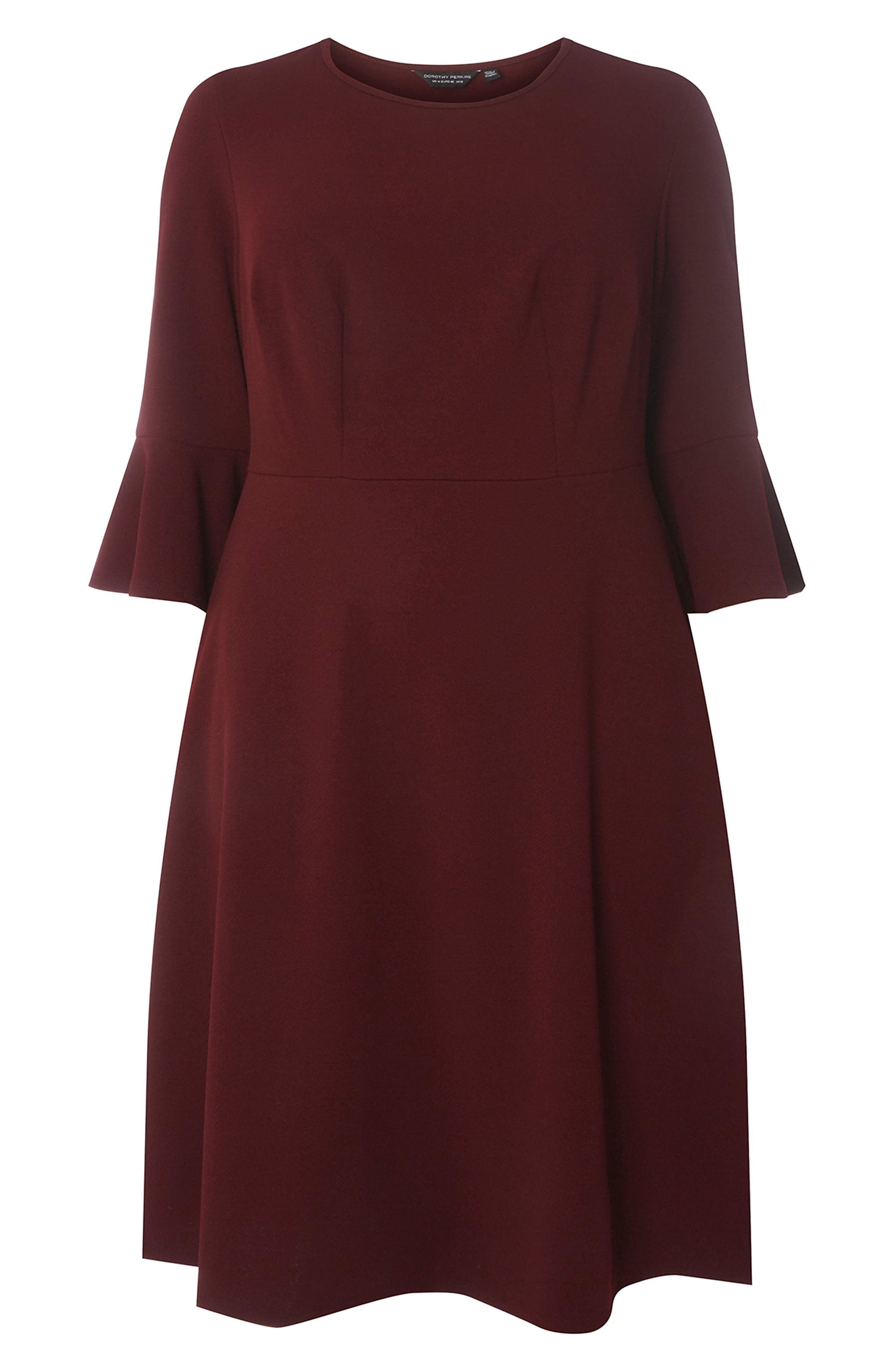 Ruffle Sleeve Fitted Dress,                             Alternate thumbnail 5, color,                             Wine