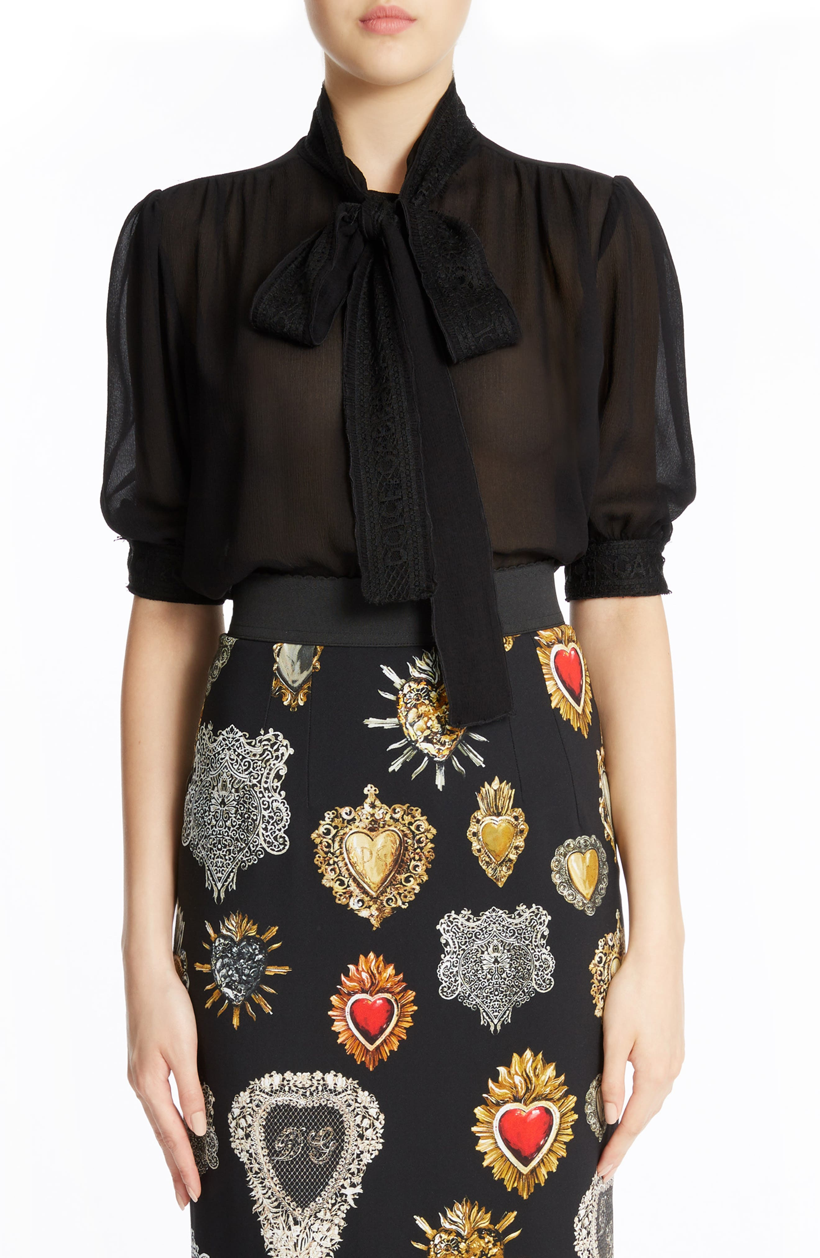 Dolce&Gabbana Tie Neck Silk Blend Crepe Blouse