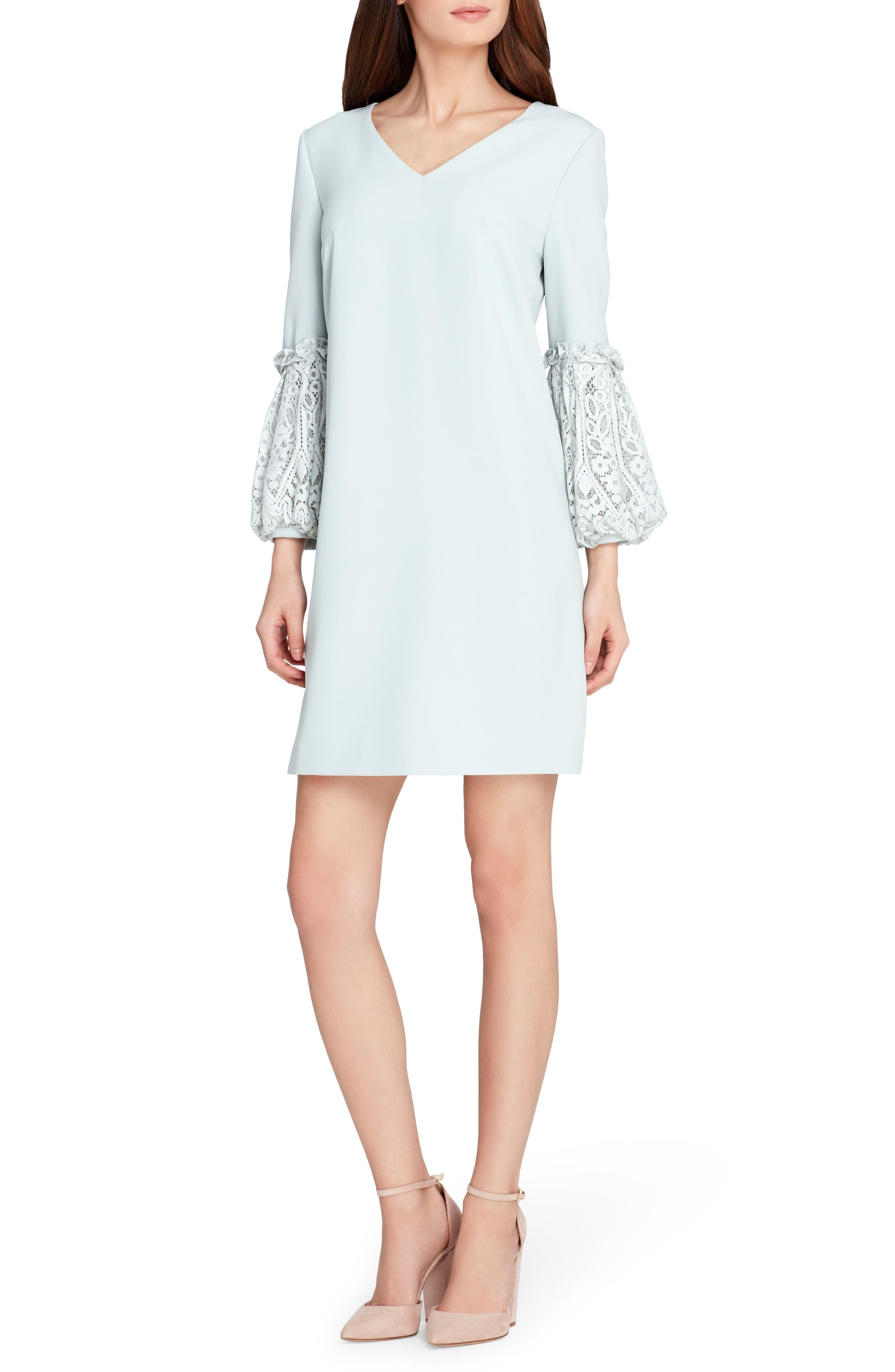 Lace & Ruffle Sleeve Shift Dress,                         Main,                         color, Whispering Blue
