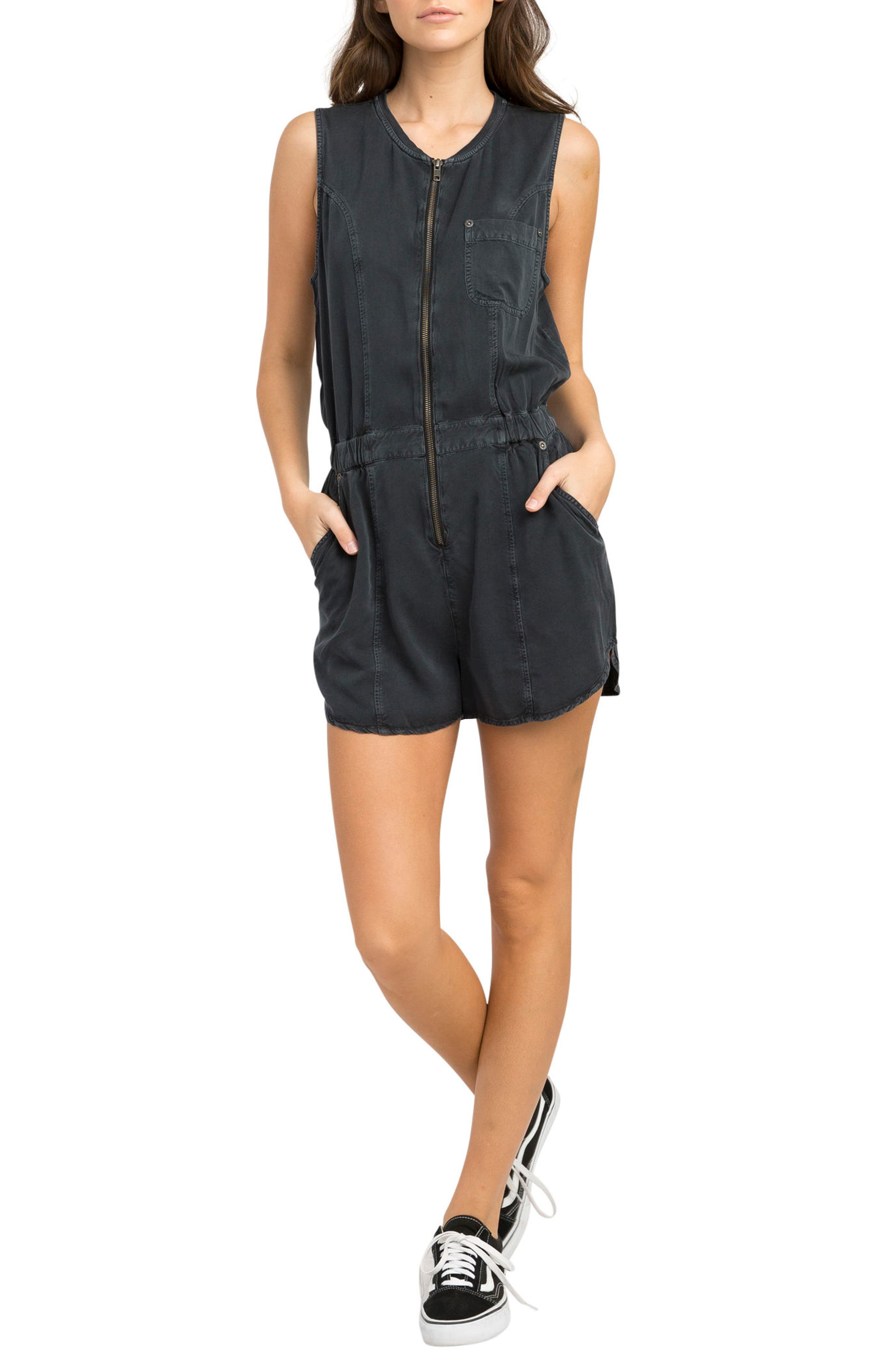 Hitched Utility Romper,                         Main,                         color, Black