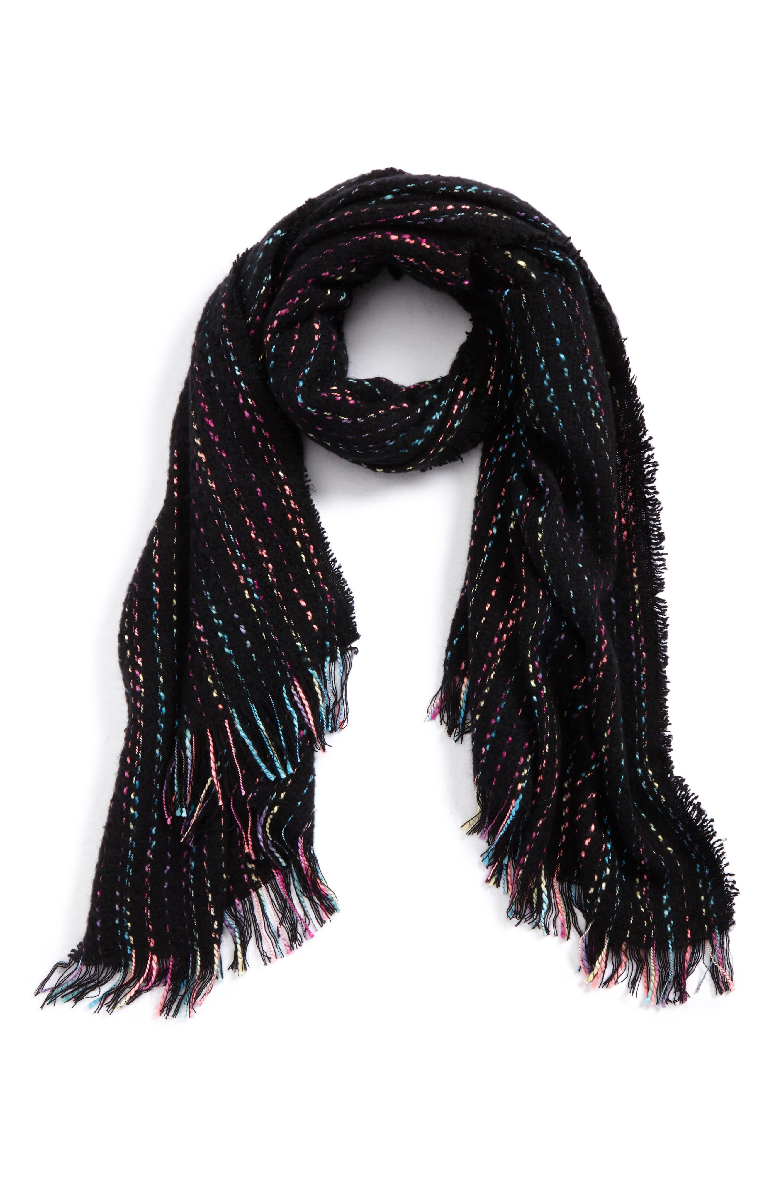 Multicolor Stripe Scarf,                         Main,                         color, Black Multi