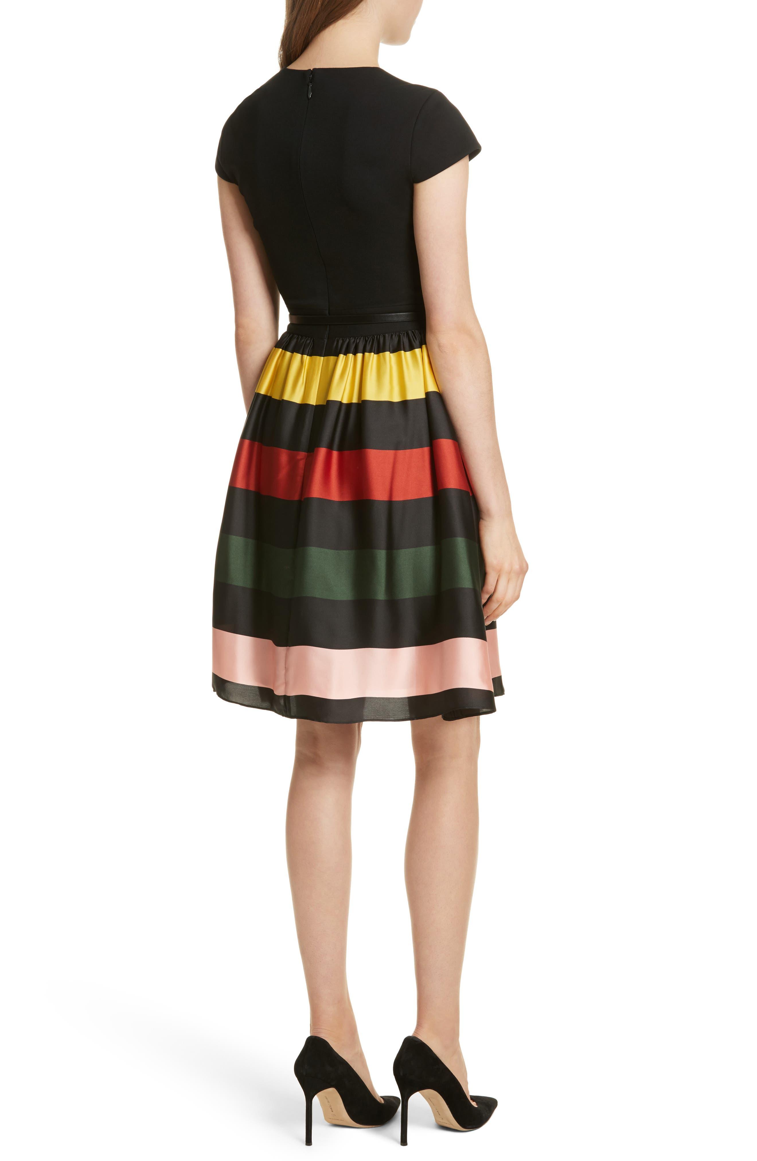 Cruise Stripe Fit & Flare Dress,                             Alternate thumbnail 2, color,                             Black