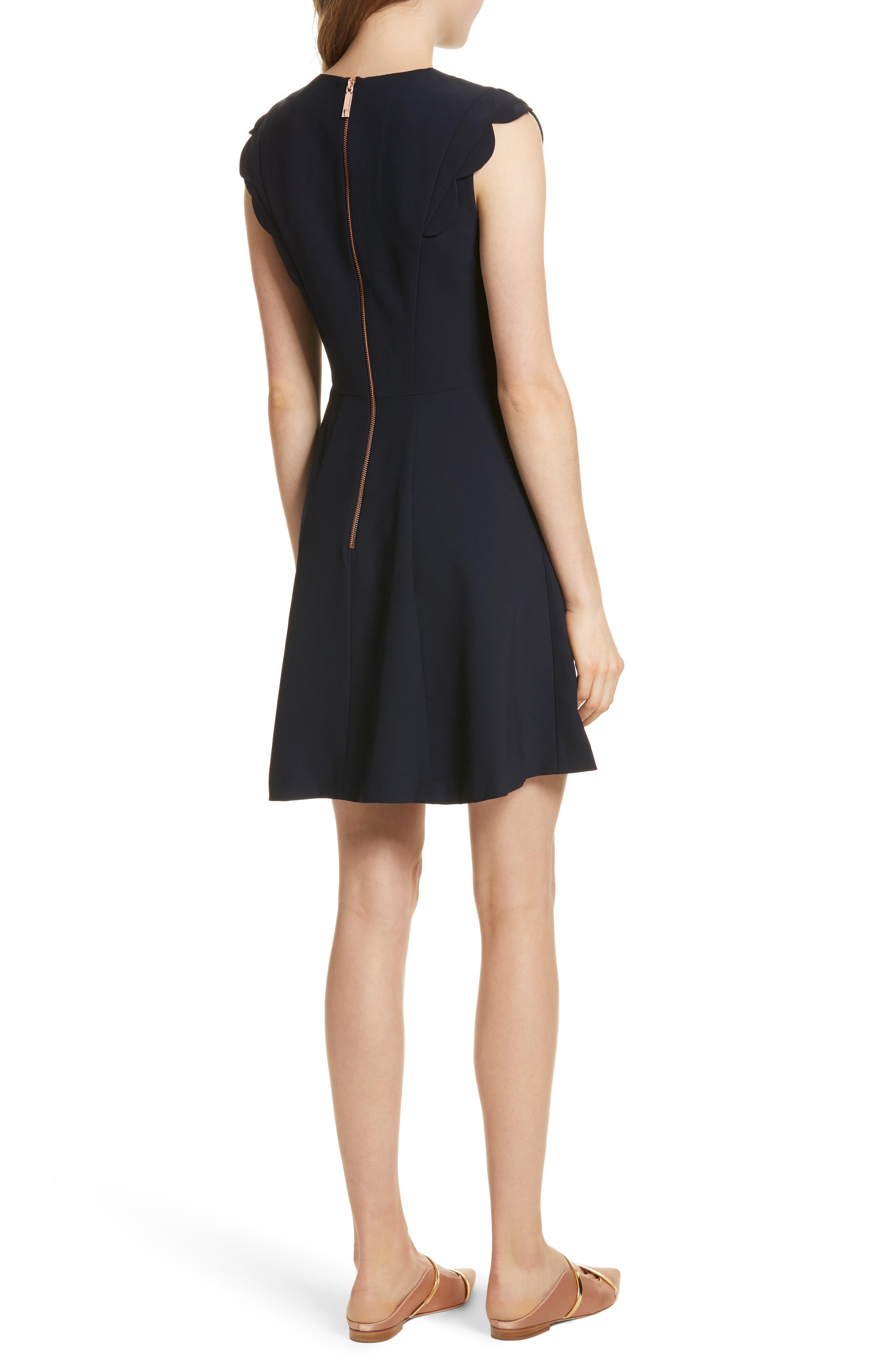 Scalloped Panel Fit & Flare Dress,                             Alternate thumbnail 2, color,                             Dark Blue