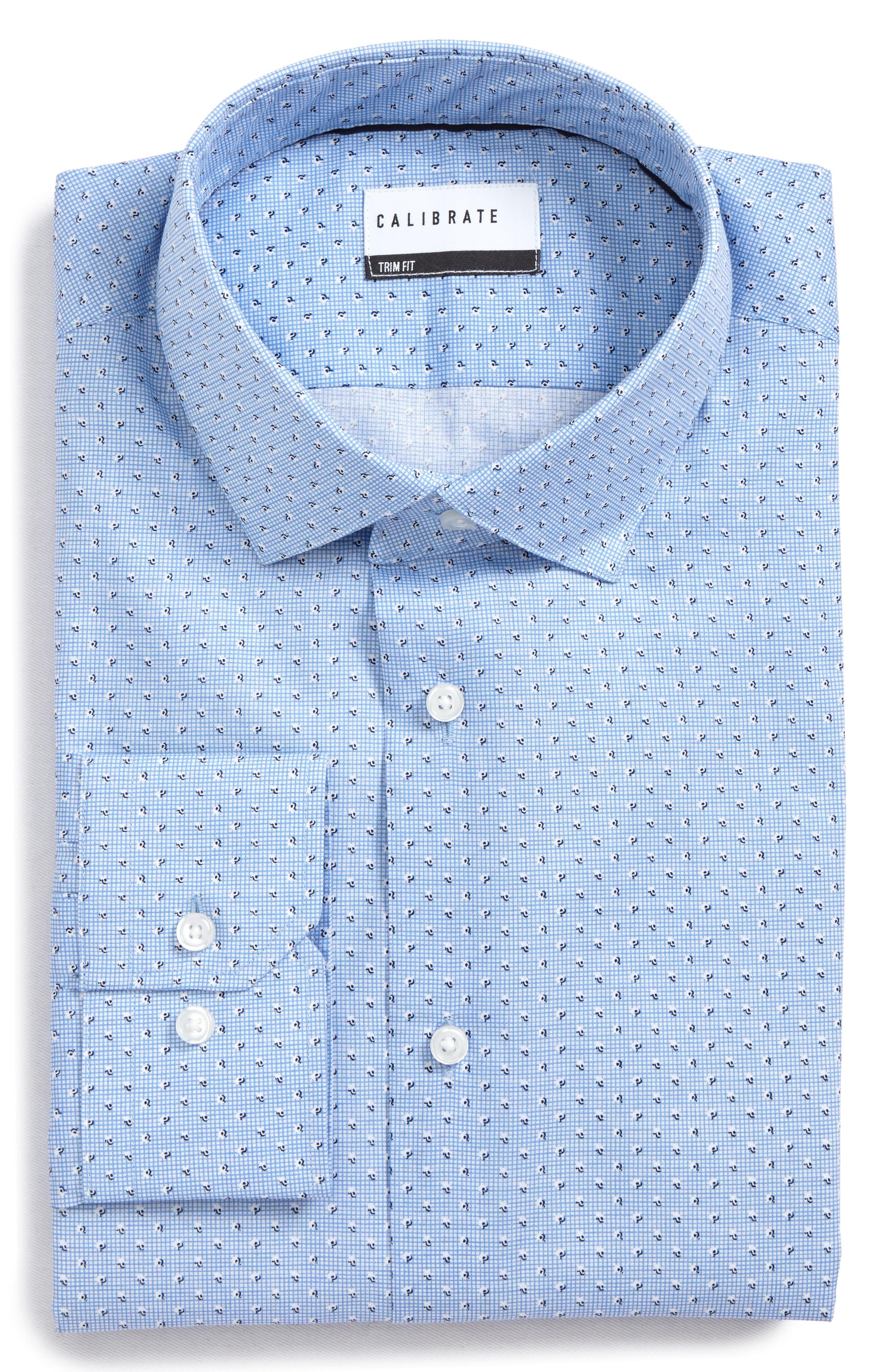 Trim Fit Print Dress Shirt,                             Alternate thumbnail 6, color,                             Blue Robbia