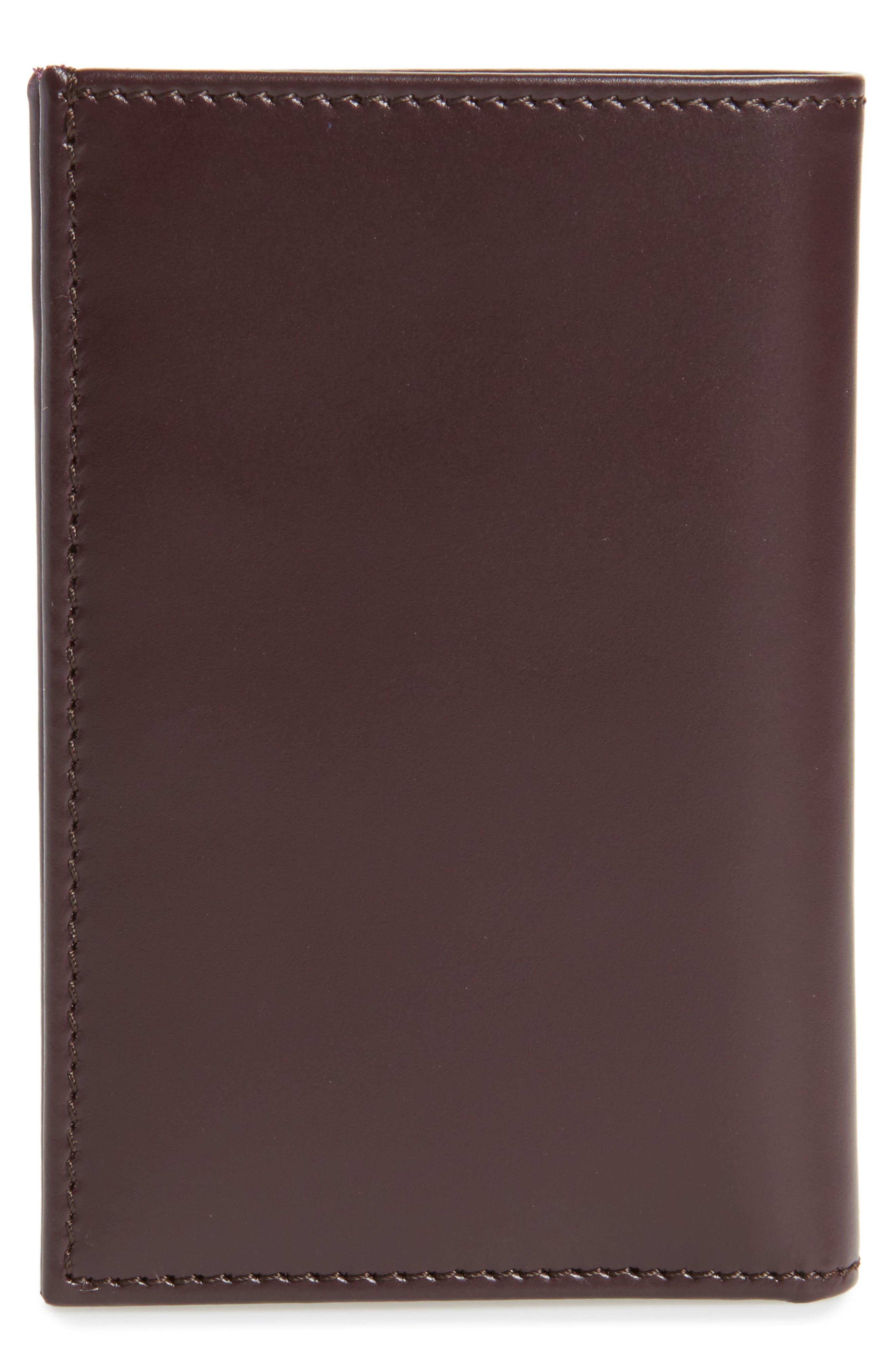 Multistripe Leather Card Case,                             Alternate thumbnail 3, color,                             Burgundy
