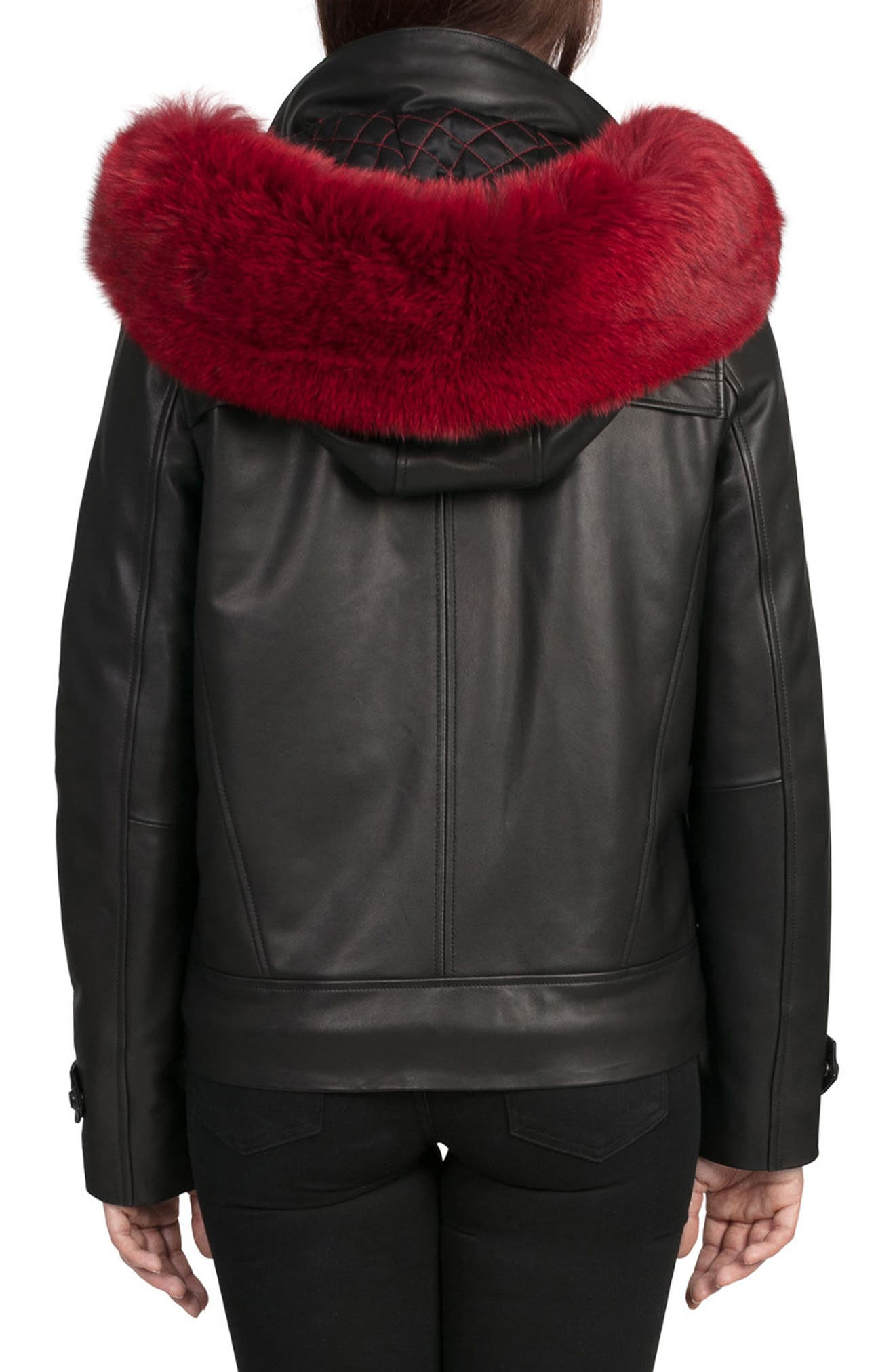 BAGATELLE.CITY The Aspen Leather Jacket with Genuine Fox Fur Trim,                             Alternate thumbnail 2, color,                             Black/ Red