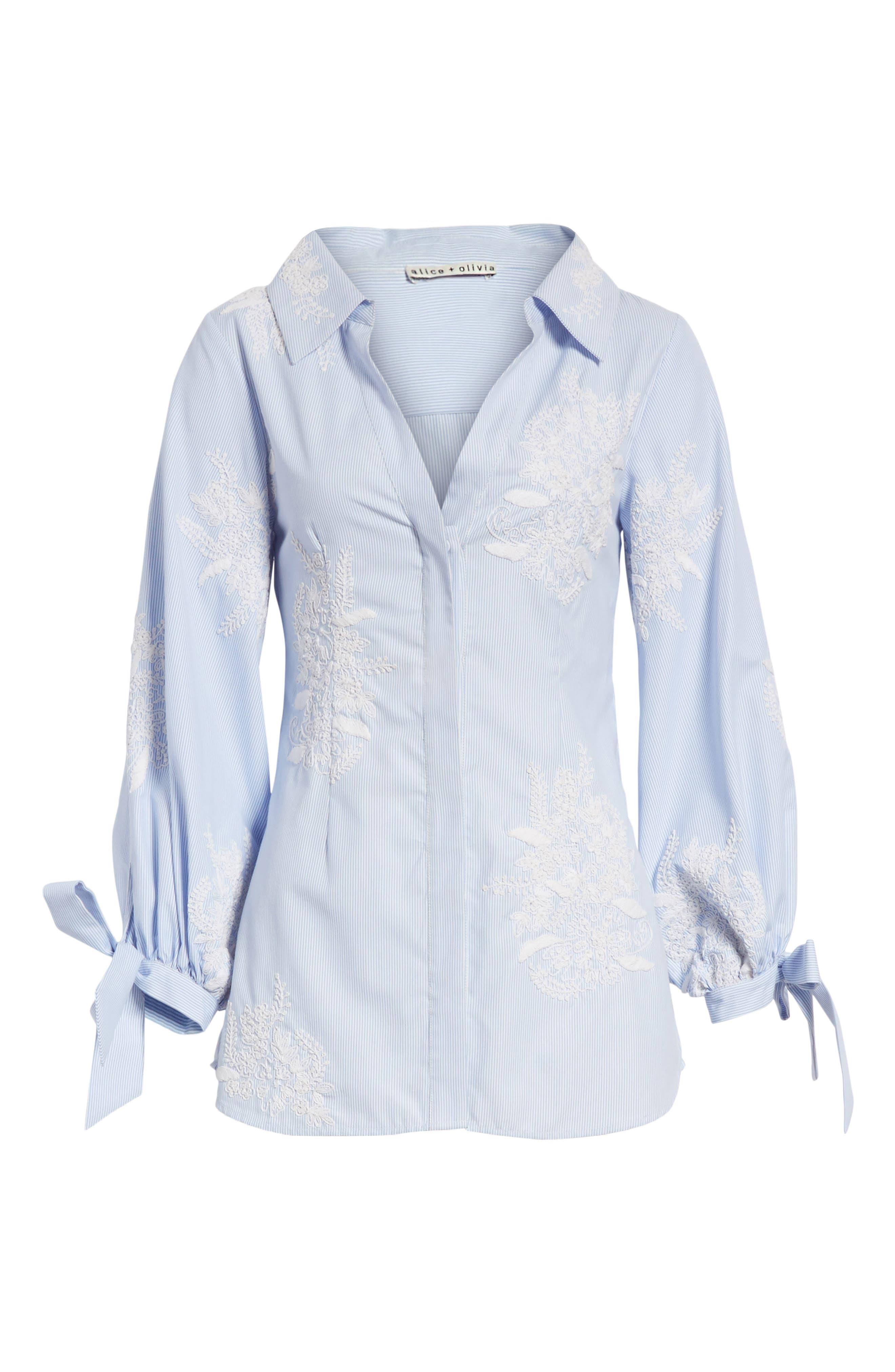 Alternate Image 6  - Alice + Olivia Toro Embroidered Tie Sleeve Blouse