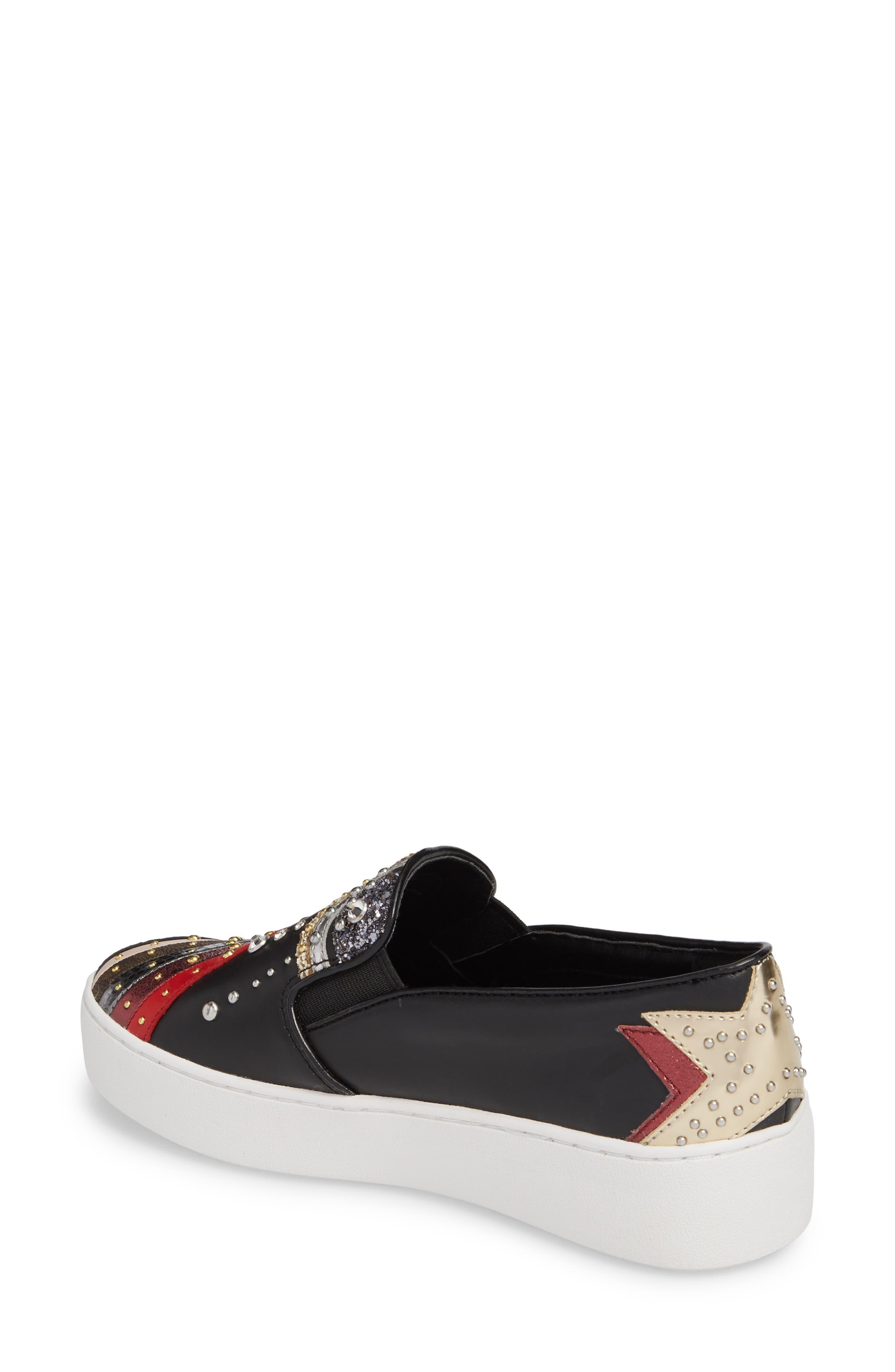 Trent Slip-On Sneaker,                             Alternate thumbnail 2, color,                             Black Firework Print