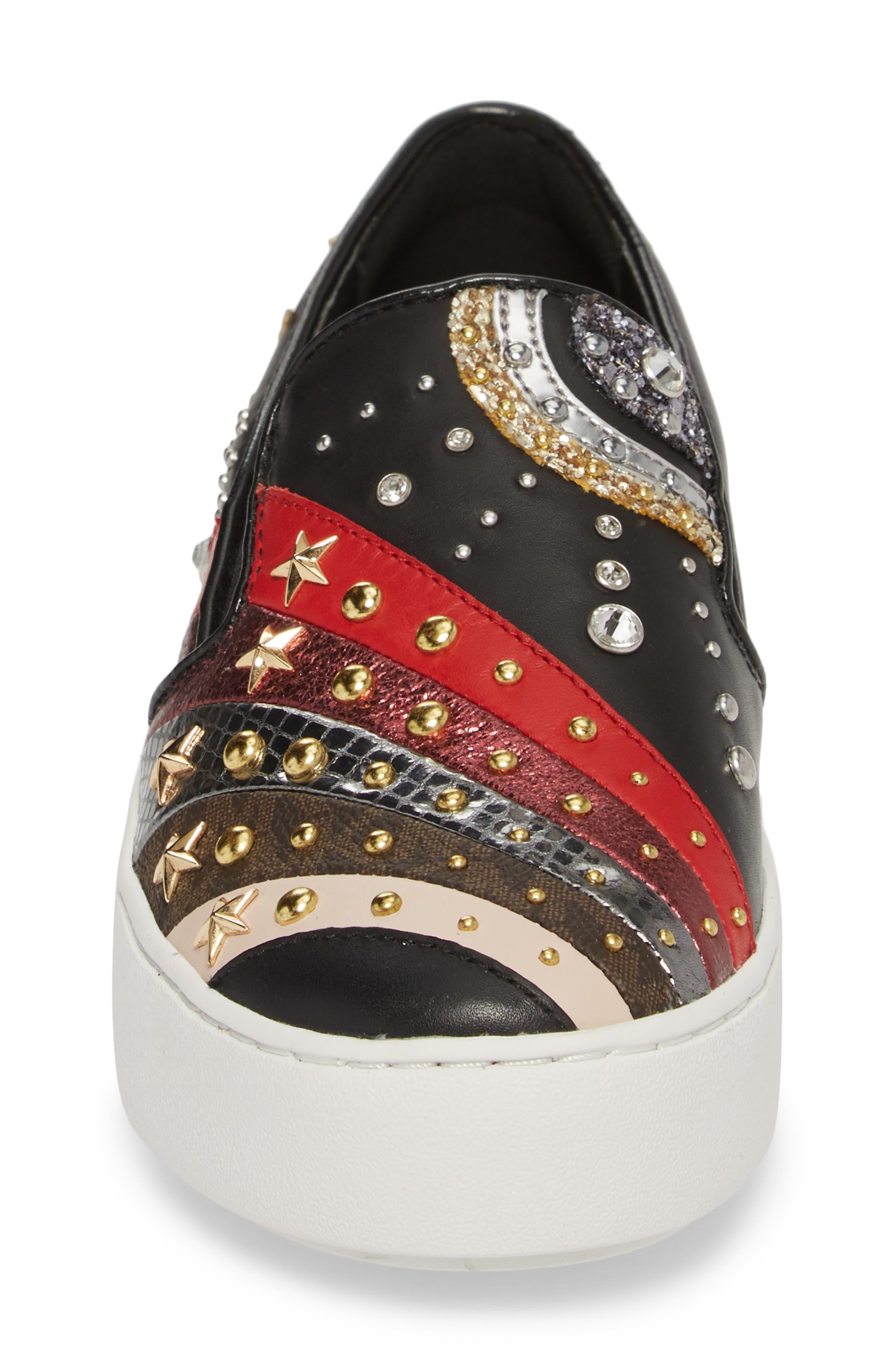 Trent Slip-On Sneaker,                             Alternate thumbnail 4, color,                             Black Firework Print