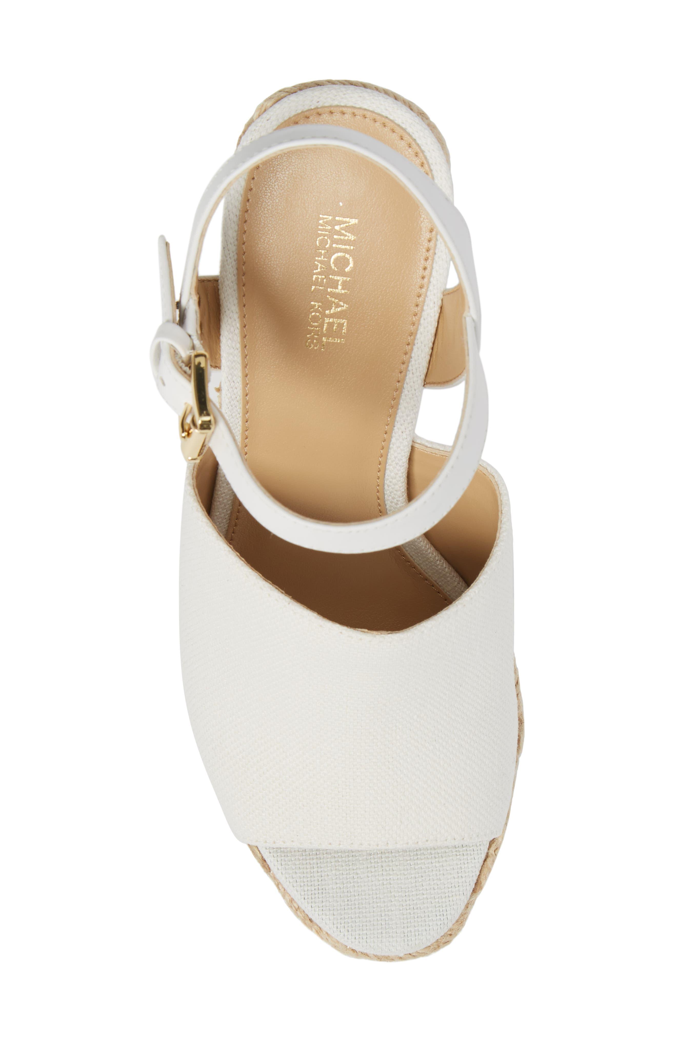 Penelope Espadrille Wedge Sandal,                             Alternate thumbnail 5, color,                             Optic White Canvas