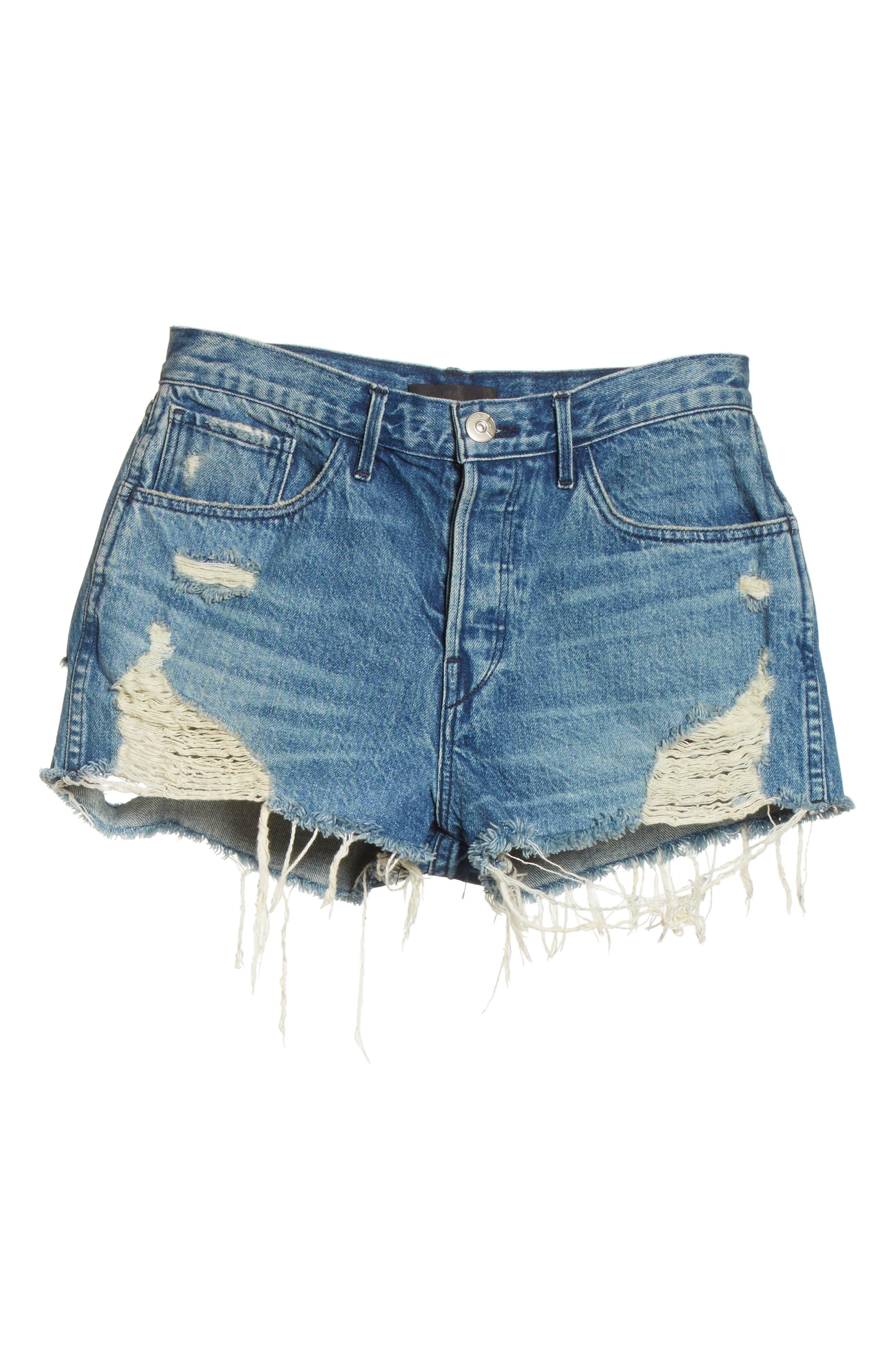 W4 Carter Ripped High Waist Denim Shorts,                             Alternate thumbnail 6, color,                             Elmar