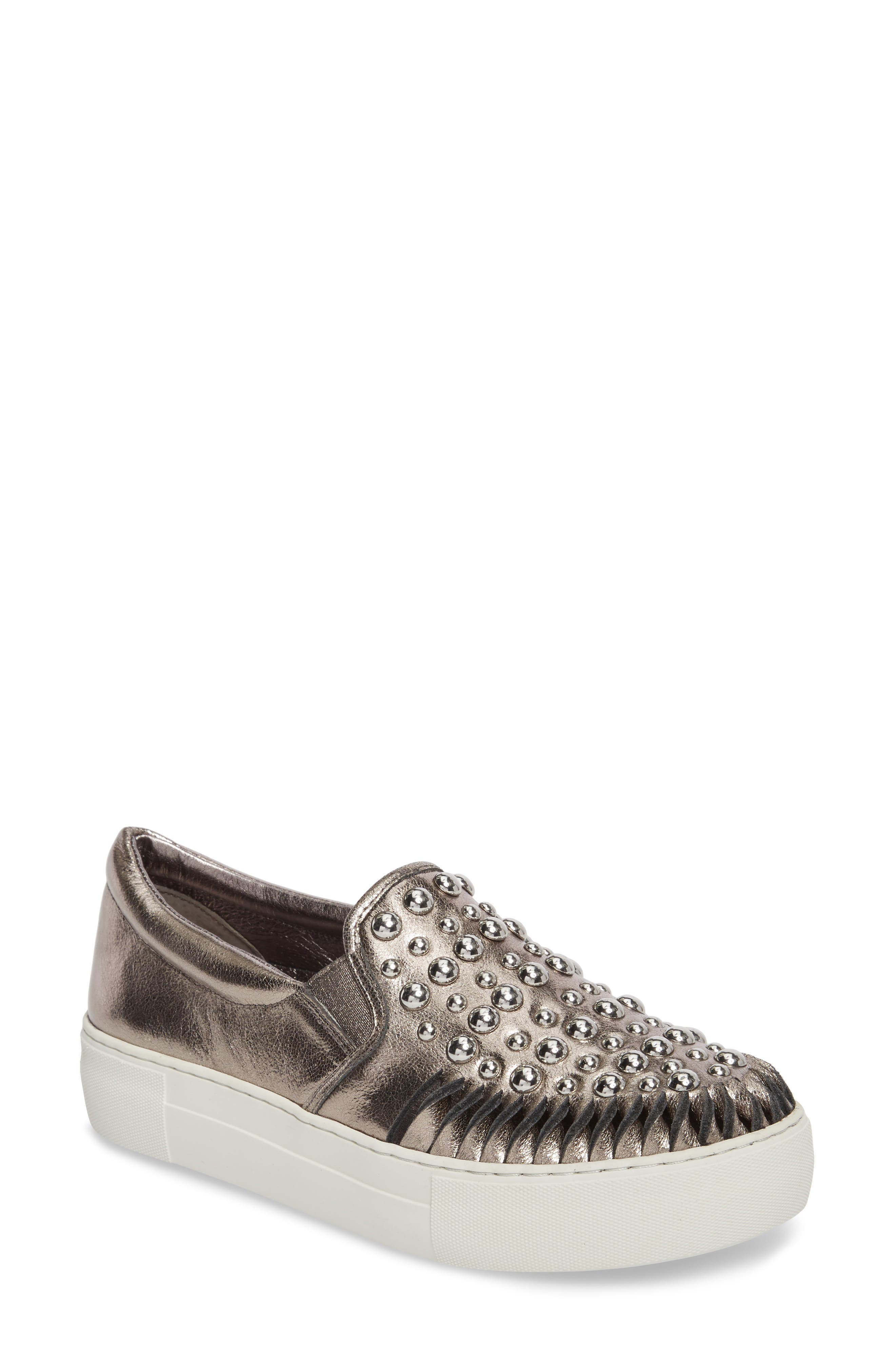 AZT Studded Slip-On Sneaker,                             Main thumbnail 1, color,                             Pewter Leather