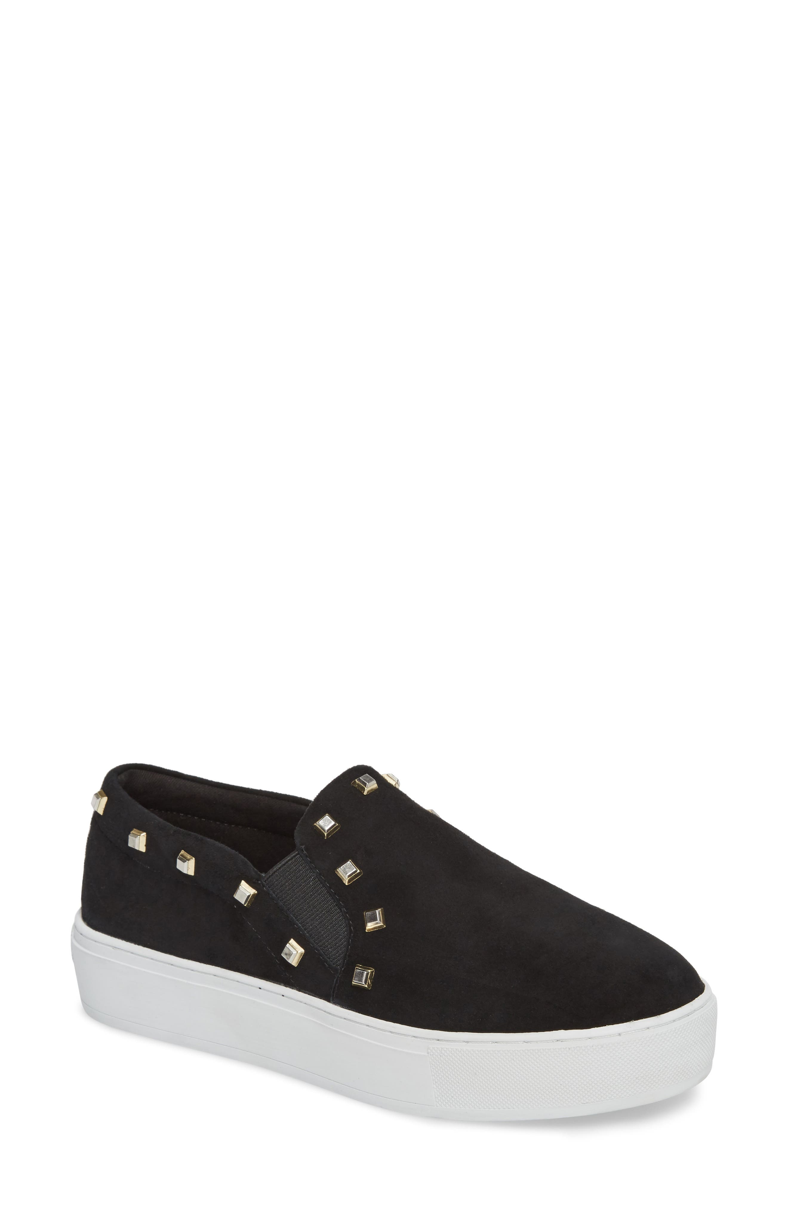 Nora Stud Platform Sneaker,                             Main thumbnail 1, color,                             Black Suede