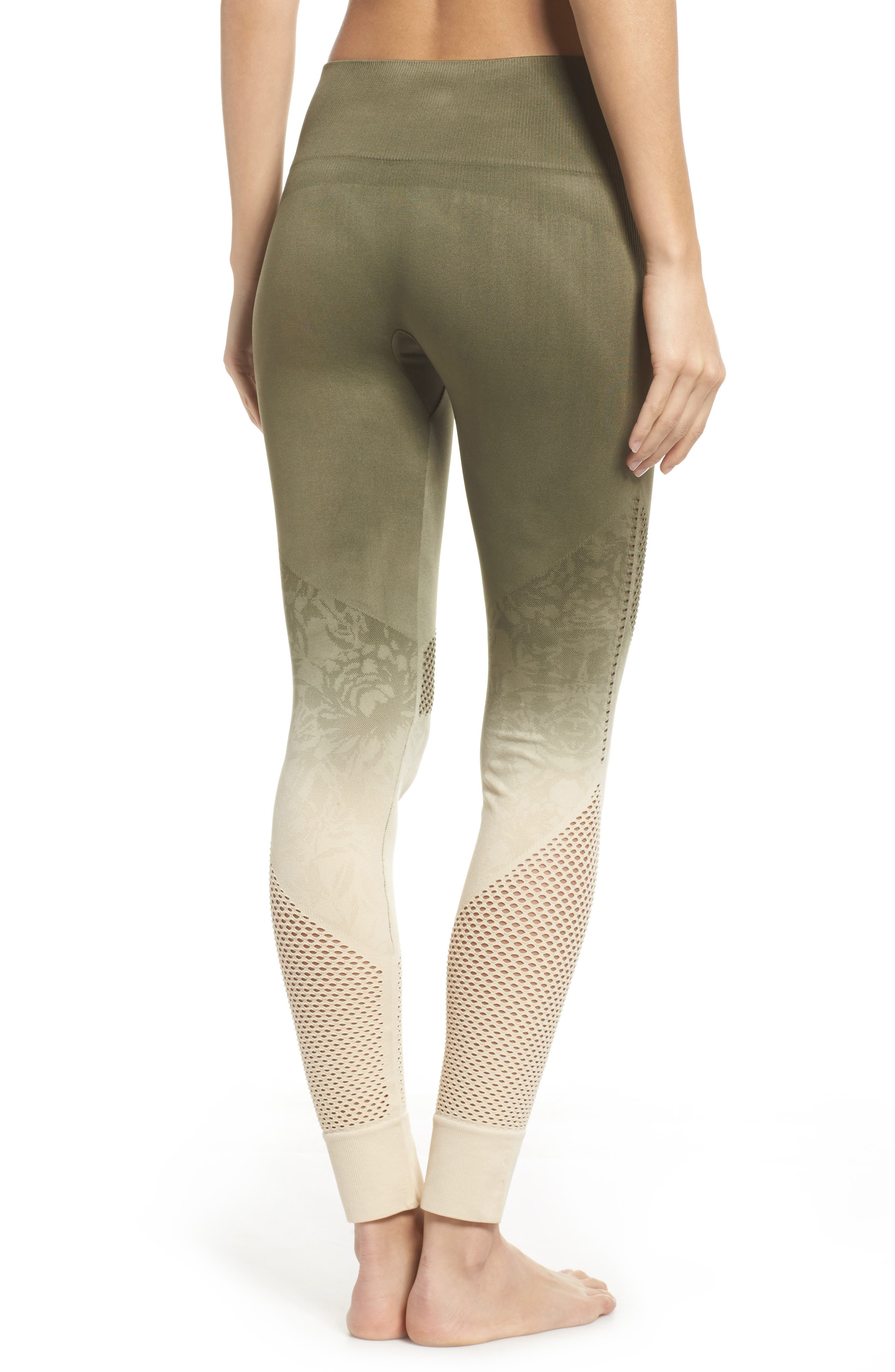 Formation High Waist Leggings,                             Alternate thumbnail 2, color,                             Tapioca W/ Deep Lichen Green
