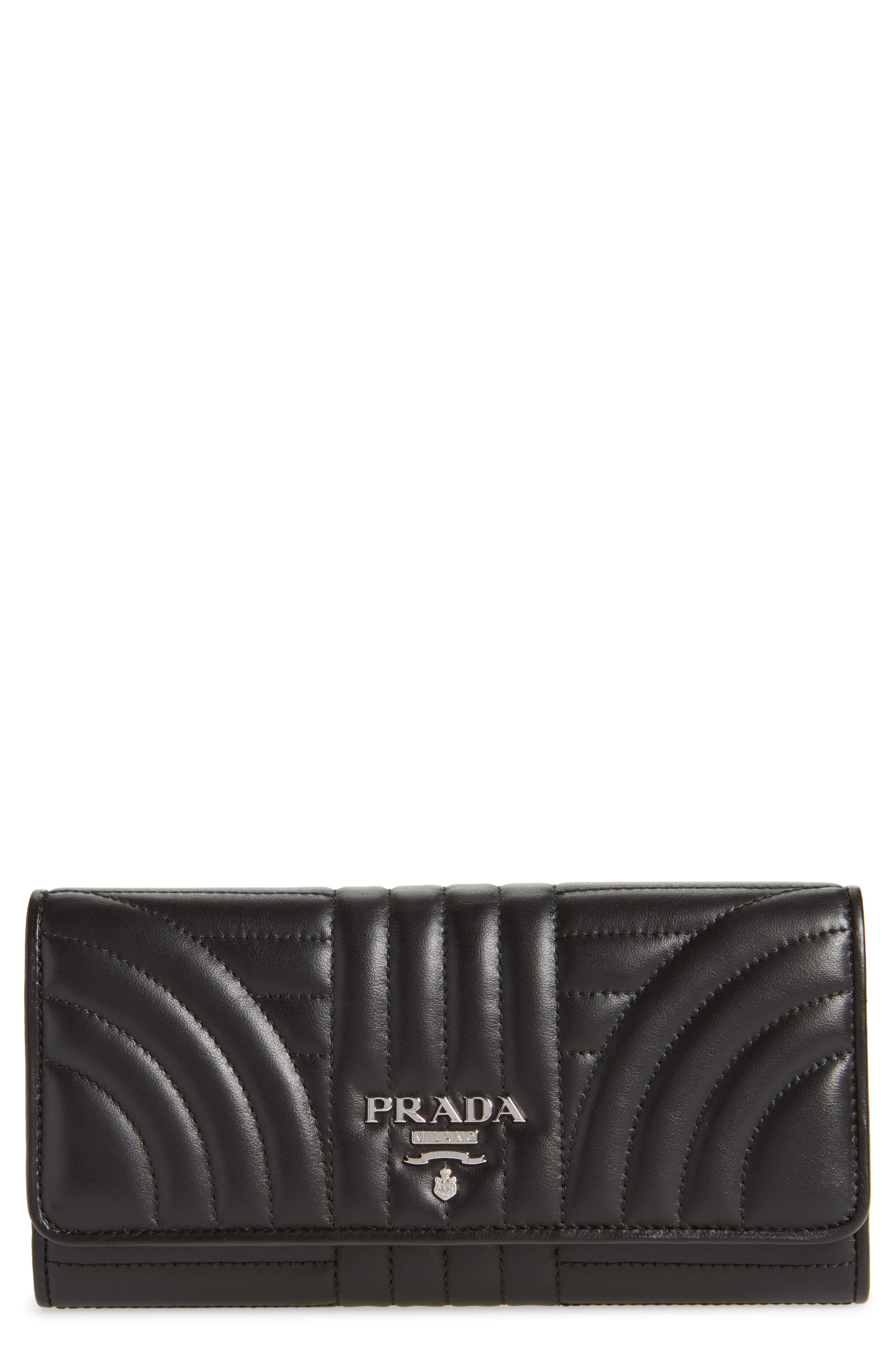 Quilted Leather Continental Wallet by Prada