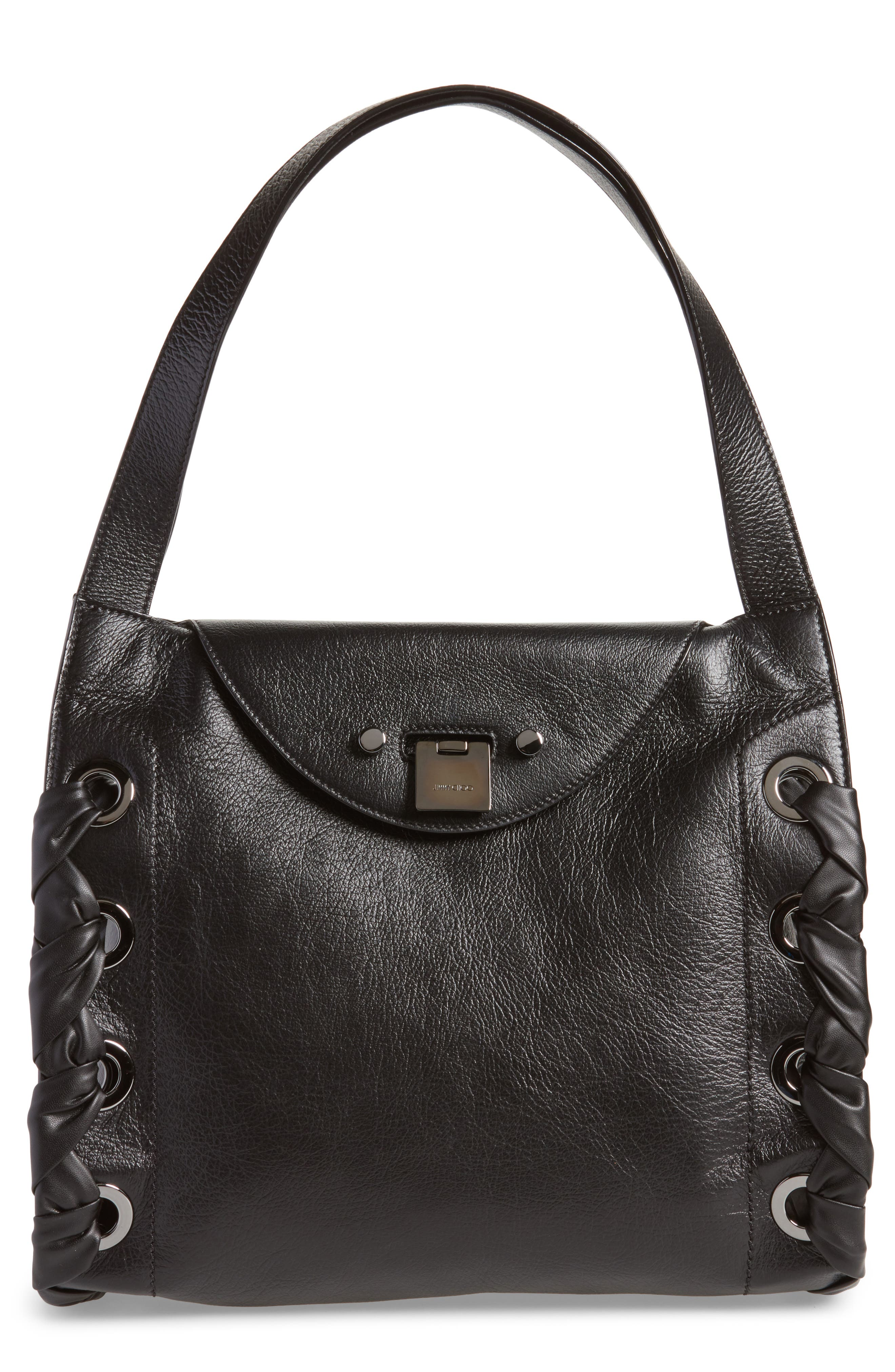 Rebel Leather Shoulder Bag,                             Main thumbnail 1, color,                             Black