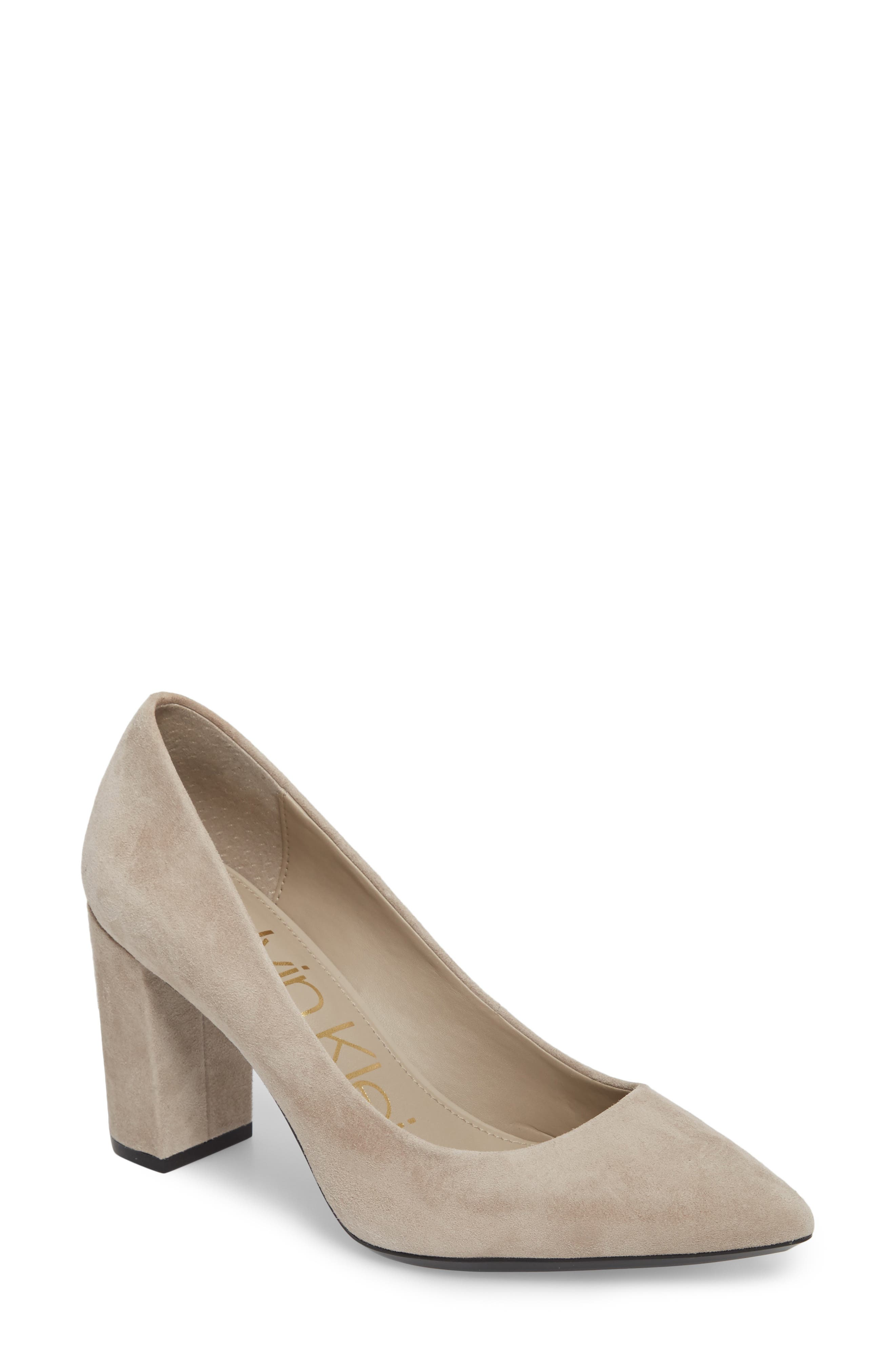 Eviti Pointy Toe Pump,                             Main thumbnail 1, color,                             Clay Suede