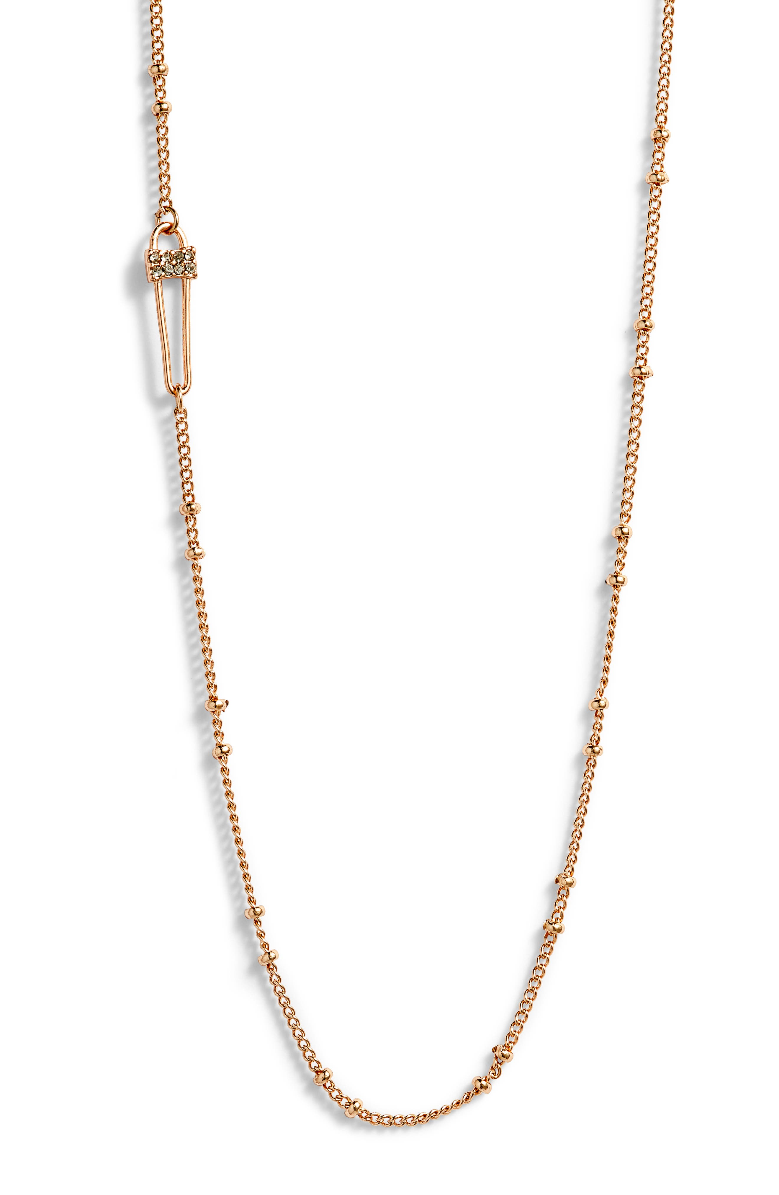 Pave Safety Pin Necklace,                             Alternate thumbnail 2, color,                             Rose Gold