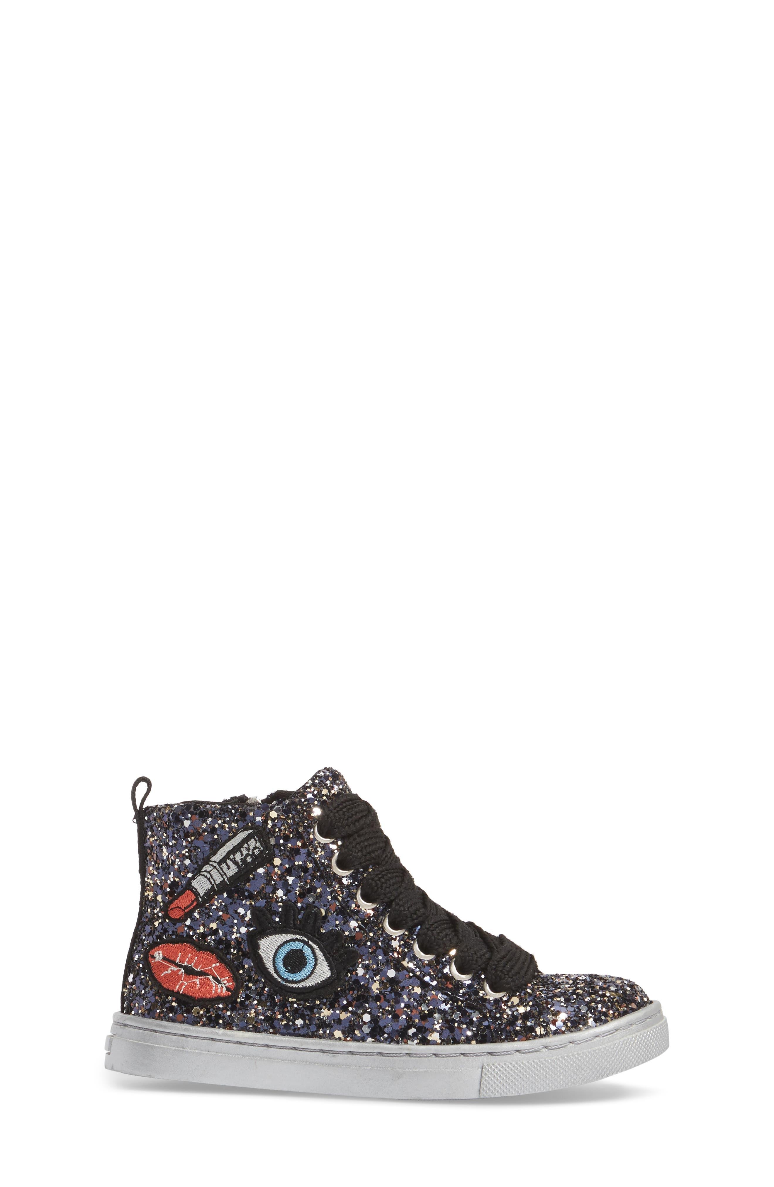 Zaine Glittery High Top Sneaker,                             Alternate thumbnail 3, color,                             Black Multi Glitter