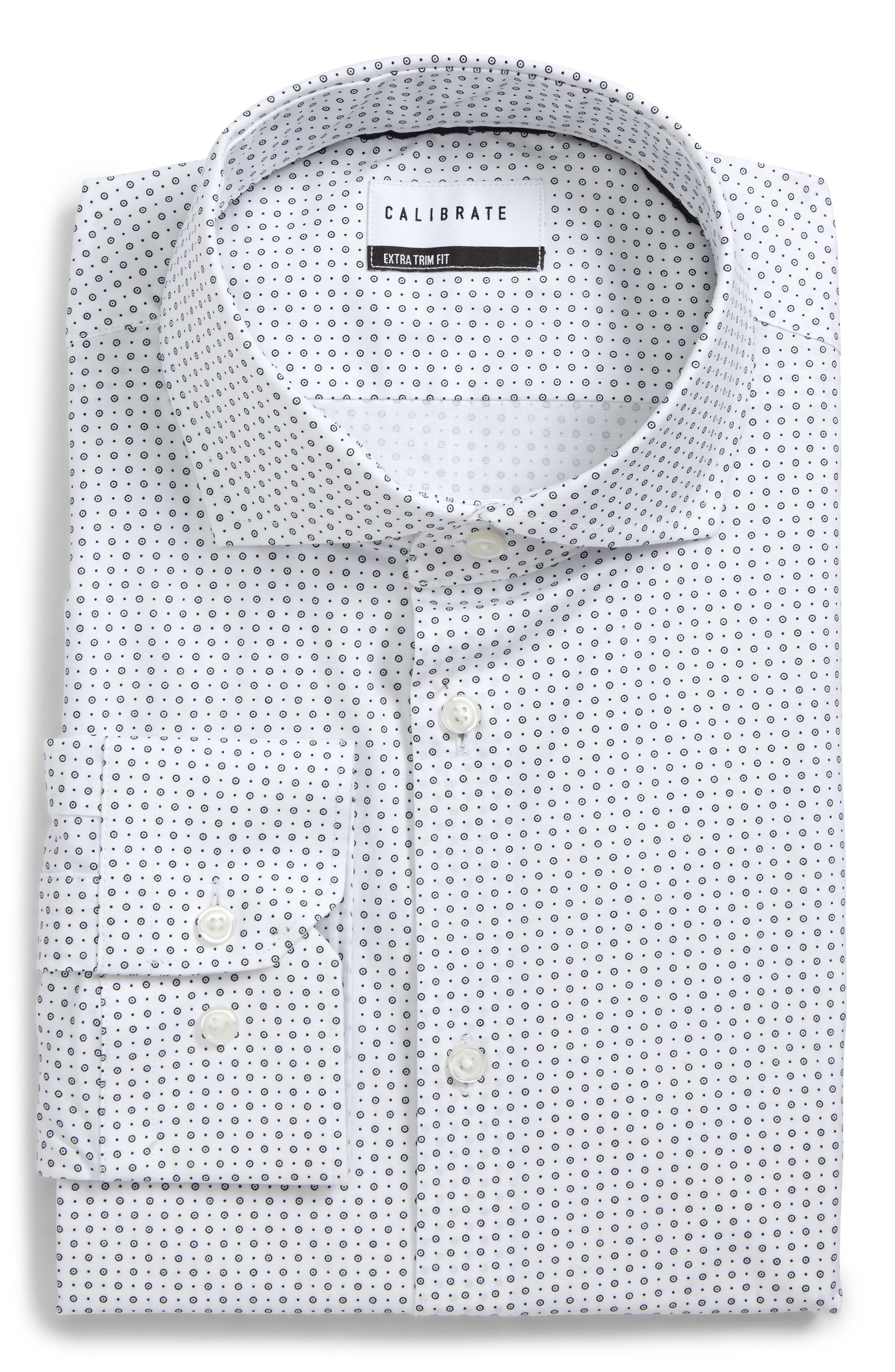 Main Image - Calibrate Extra Trim Fit Stretch Dot Dress Shirt