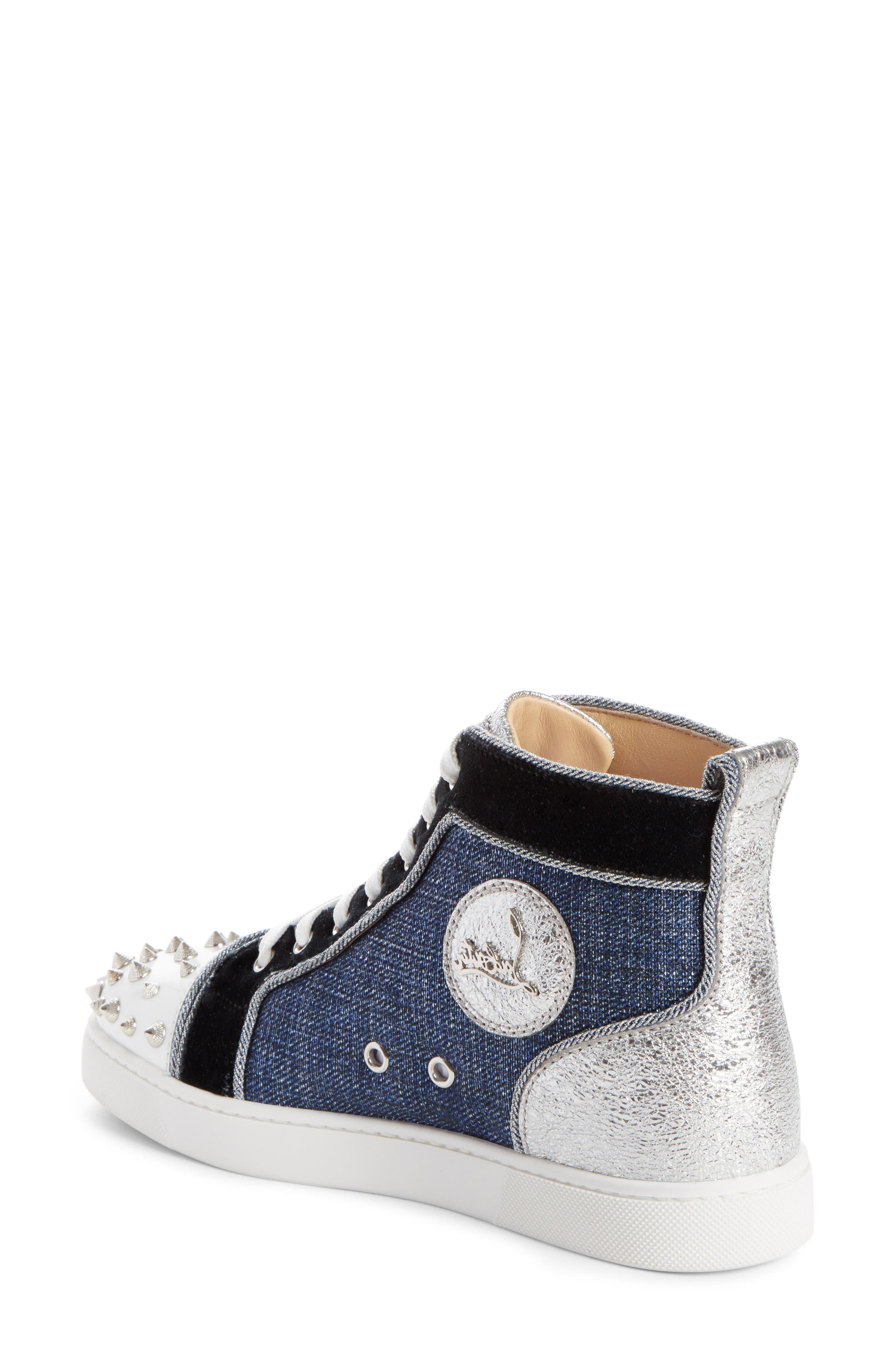 Lou Degra Spiked High Top Sneaker,                             Alternate thumbnail 2, color,                             Denim/ Silver
