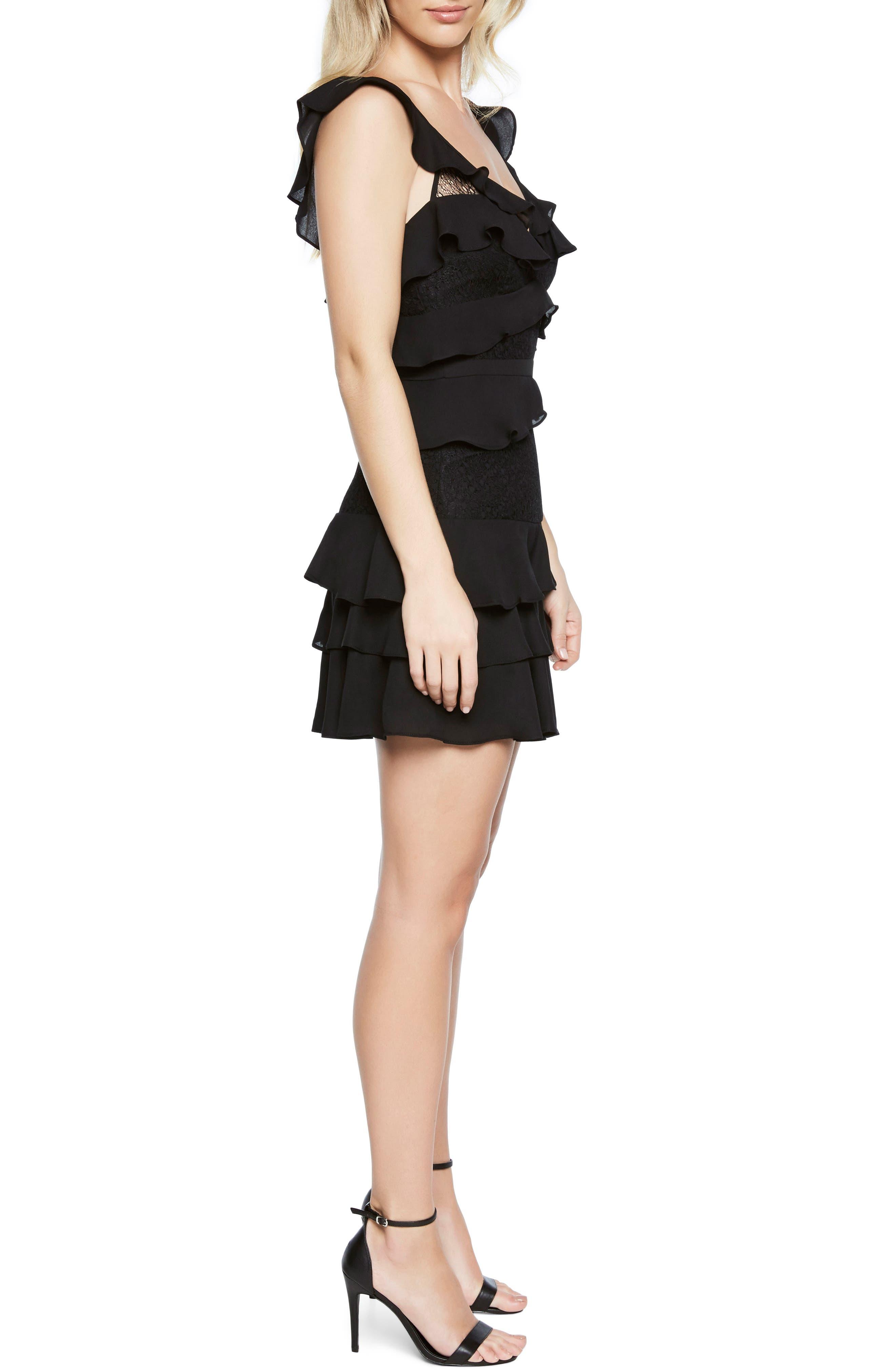 Babylon Ruffle Lace Minidress,                             Alternate thumbnail 3, color,                             Black