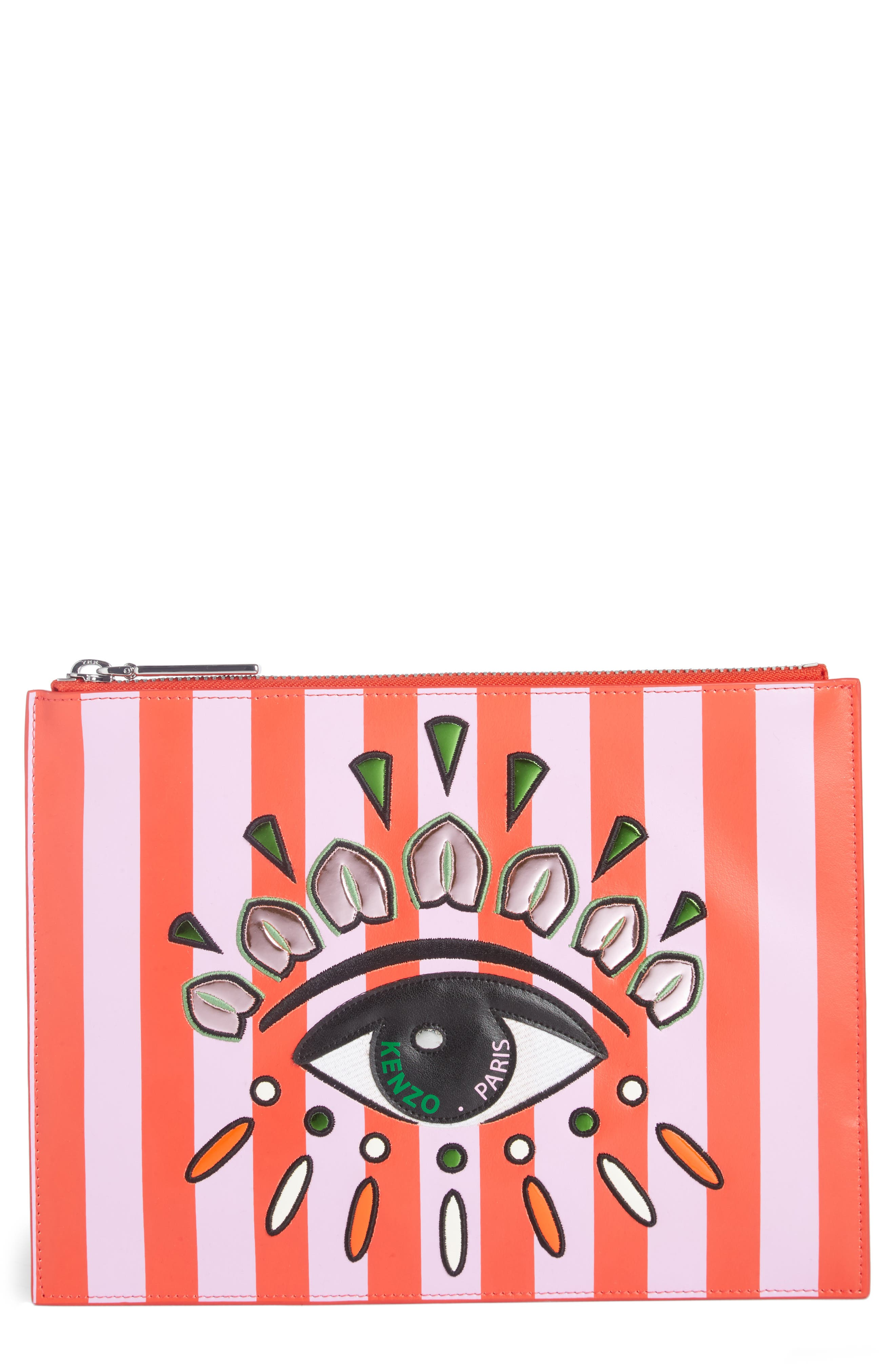 KENZO Cory Embroidered Eye Leather Pouch