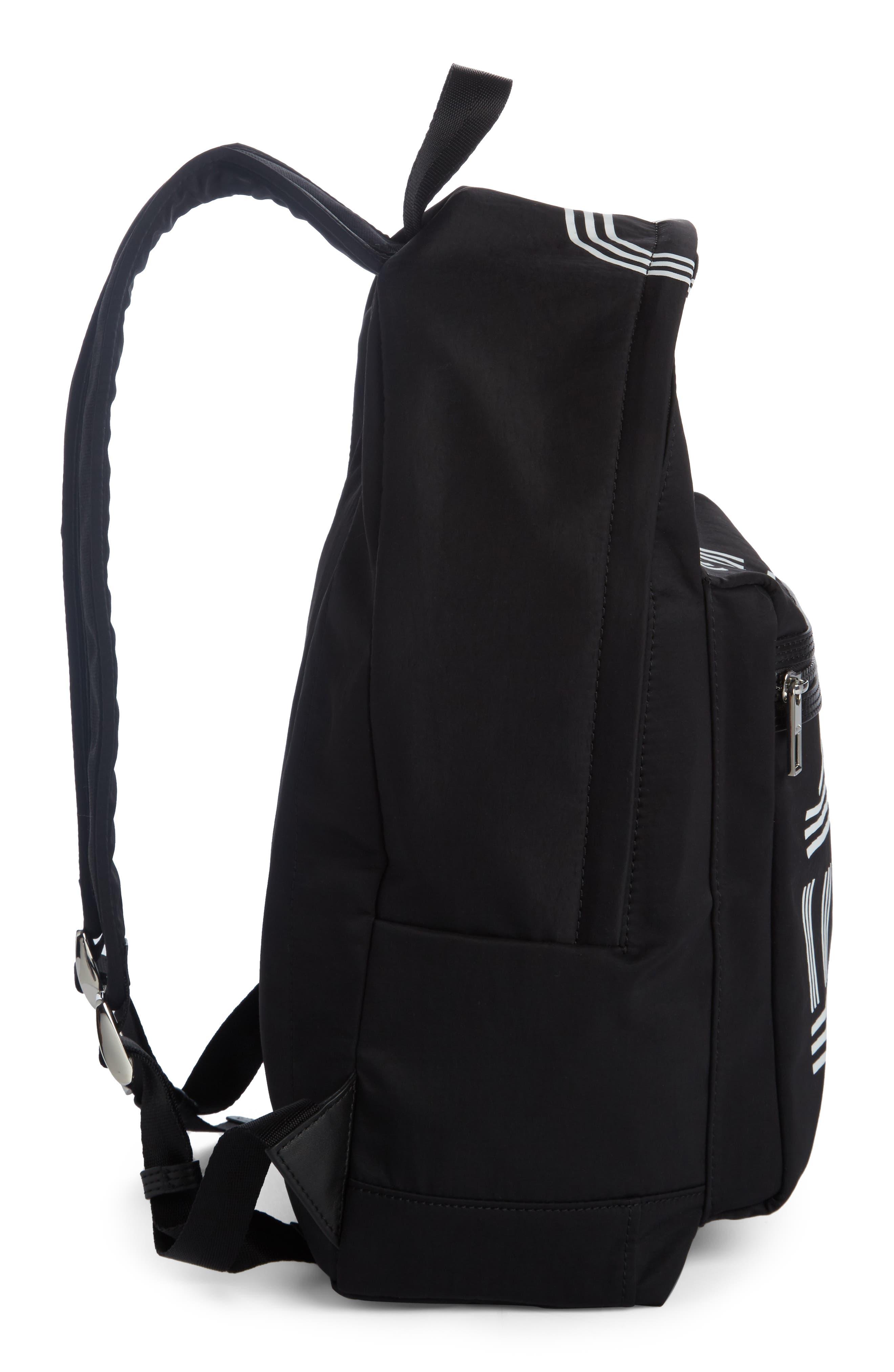 Sport Logo Nylon Backpack,                             Alternate thumbnail 3, color,                             Black