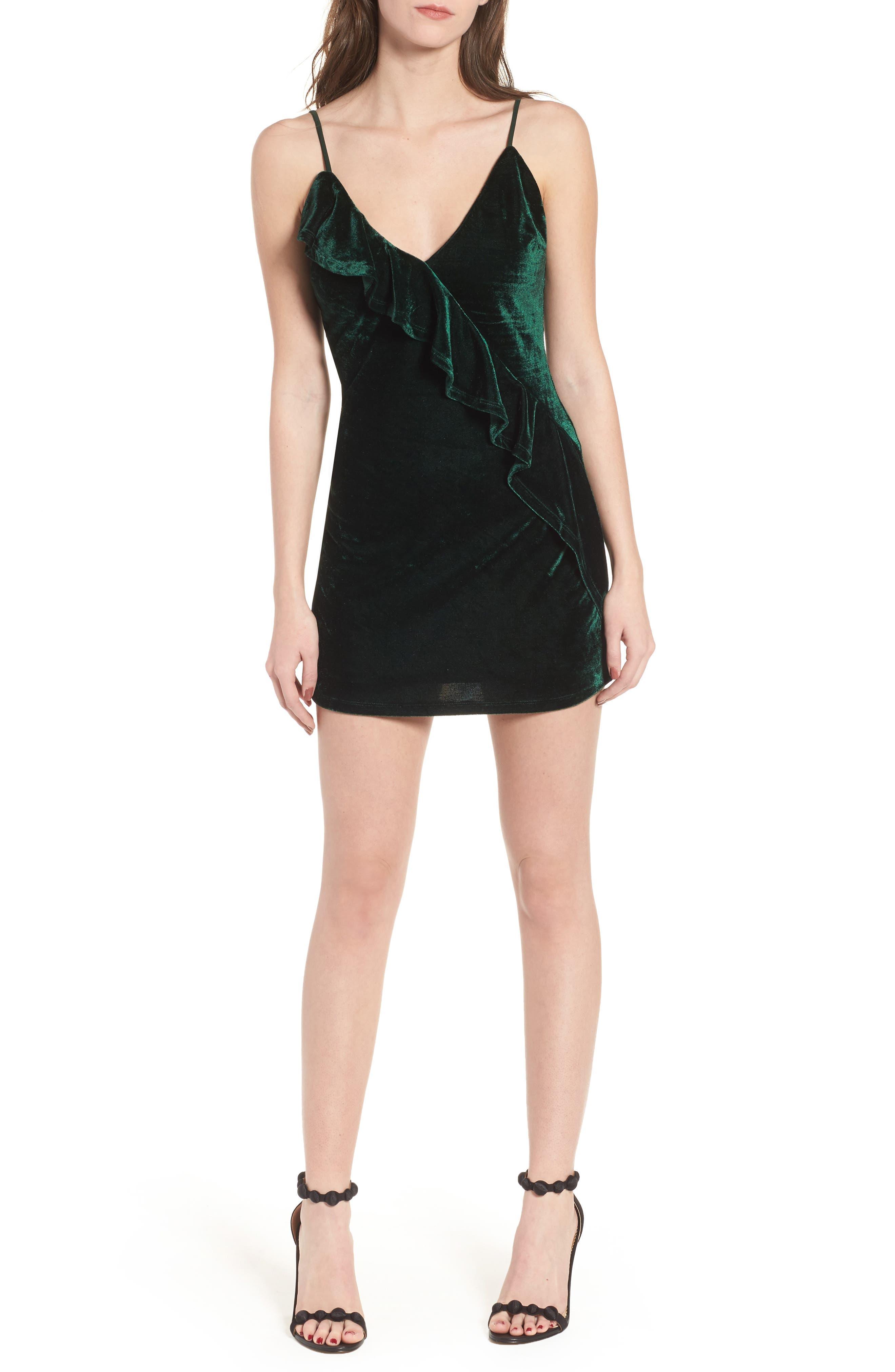Ella Velvet Minidress,                             Main thumbnail 1, color,                             Green