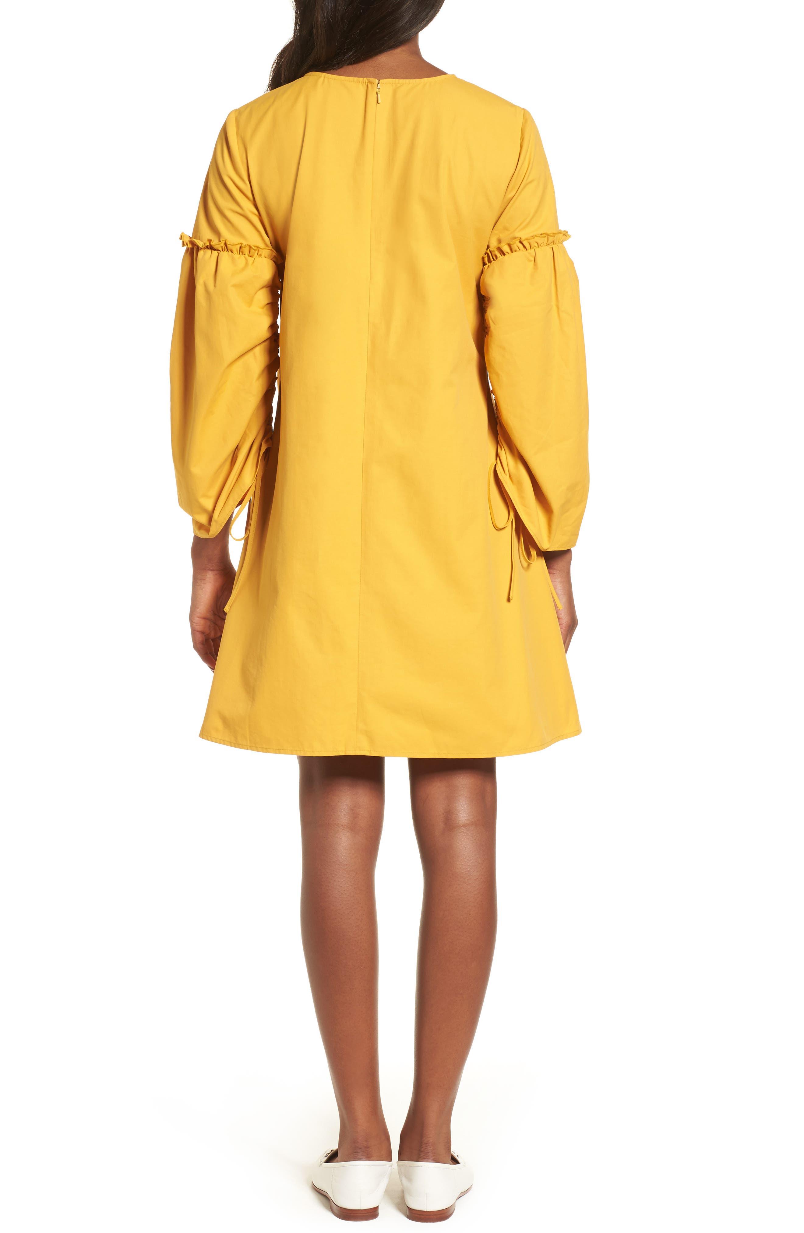 Parachute Sleeve Shift Dress,                             Alternate thumbnail 2, color,                             Yellow Mineral